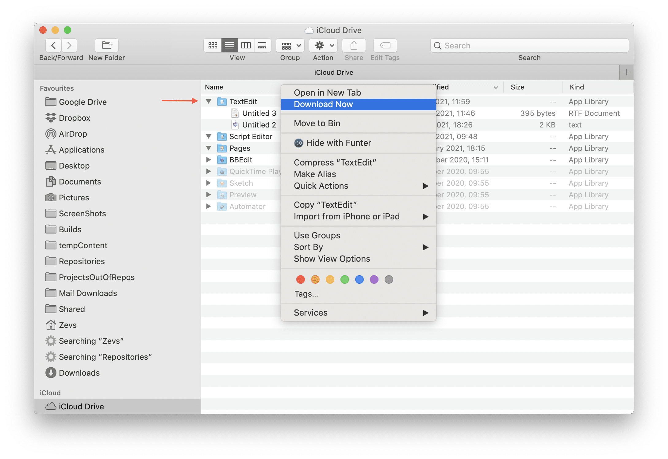 Finder window showing files in  iCloud drive