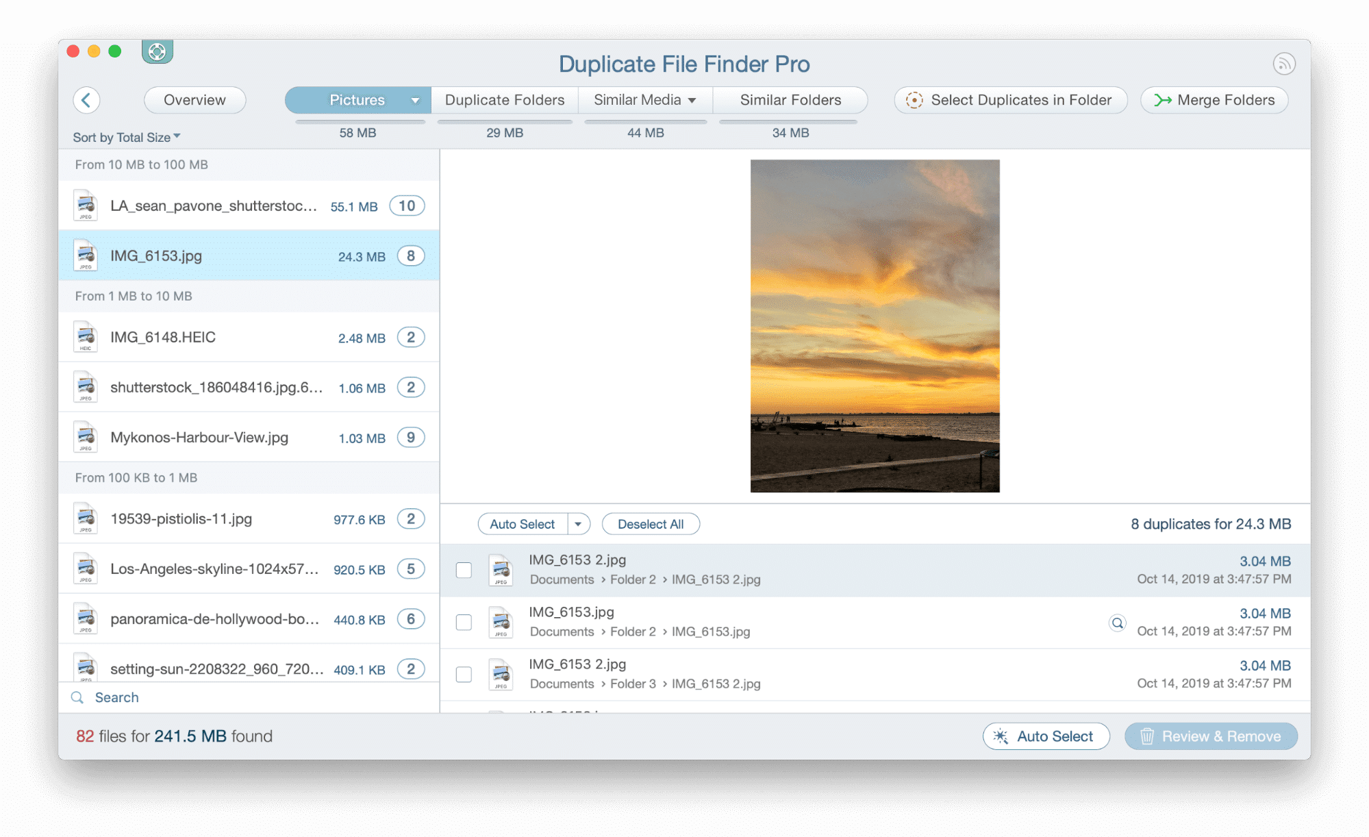 Duplicate files listed in the application