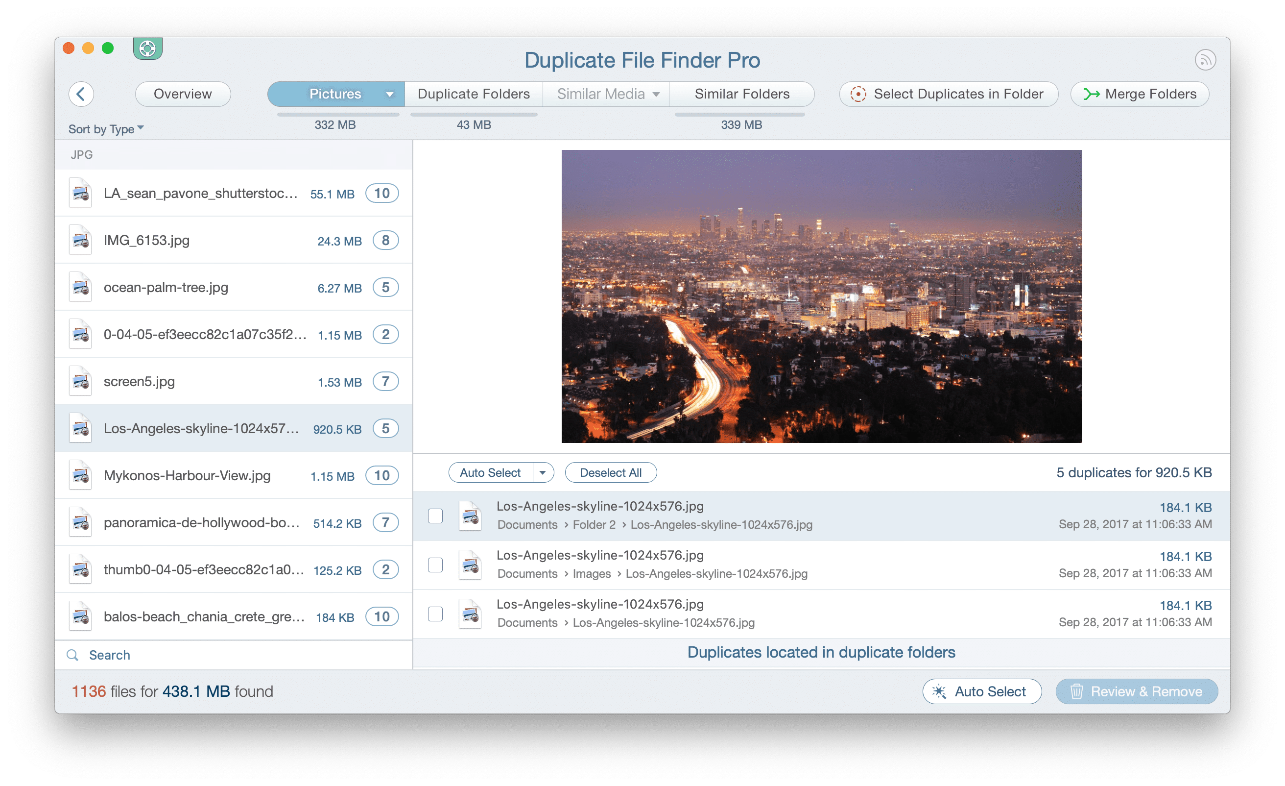 duplicate file finder window showing duplicate pics
