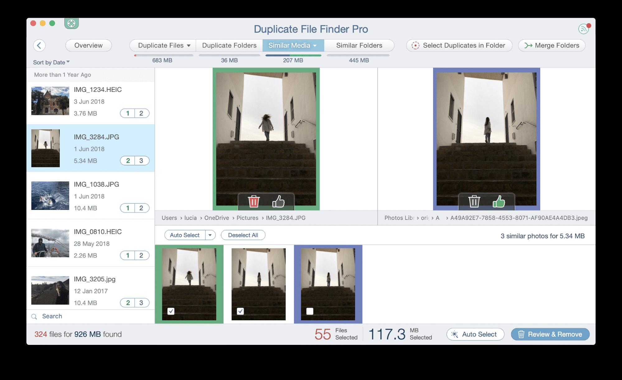 duplicate finder - similar photos tab