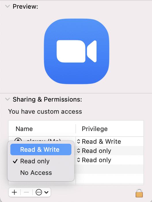 Get Info window showing Read & Write privilege