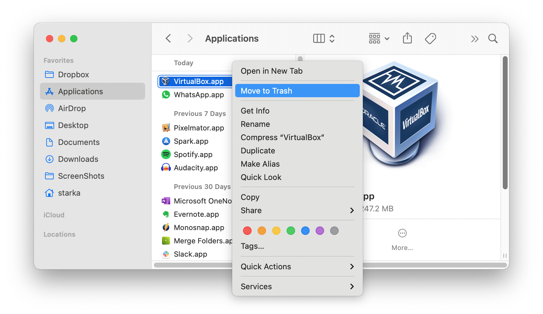 removing VirtualBox from the Applications folder