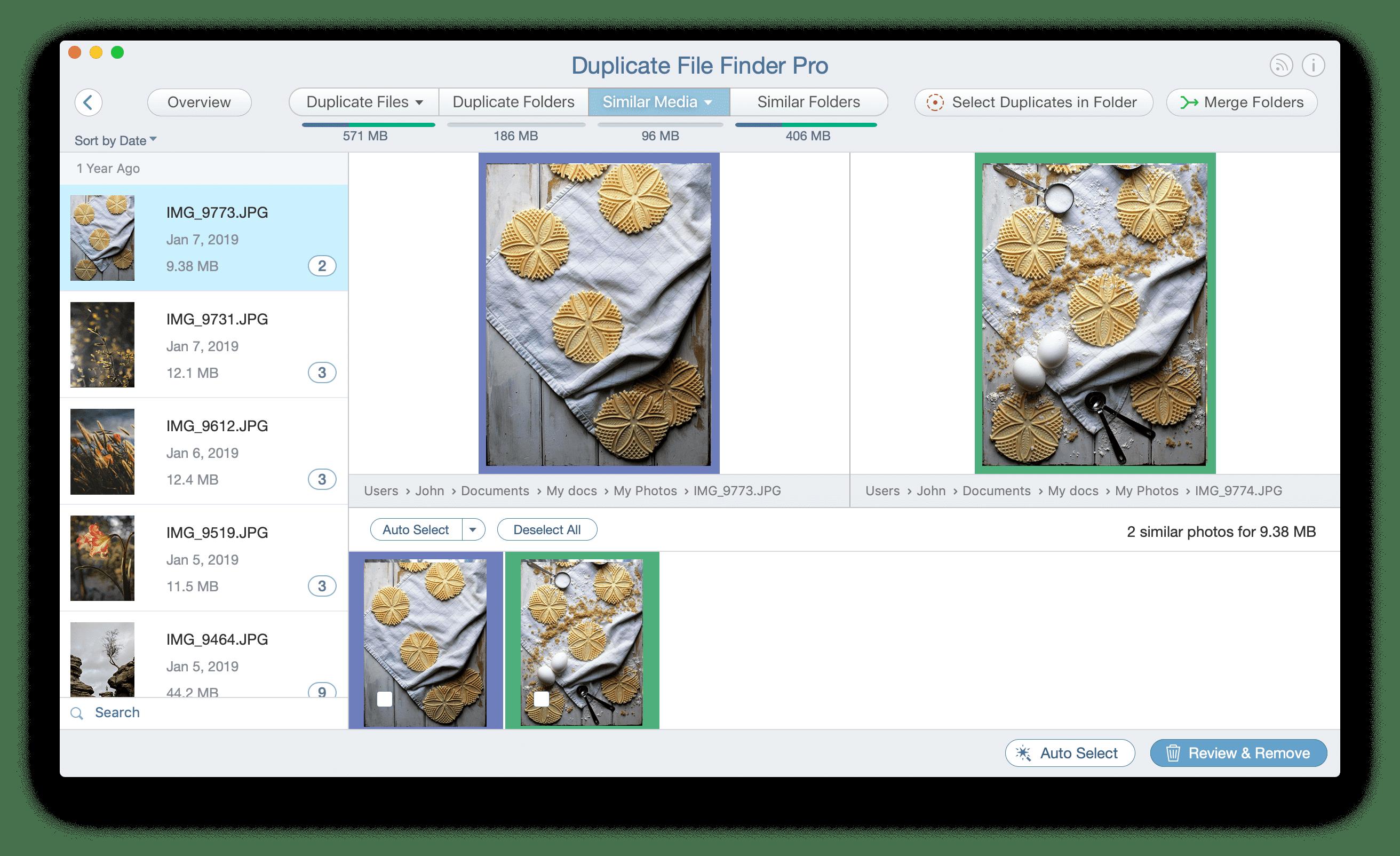 Similar Photos in Duplicate File Finder