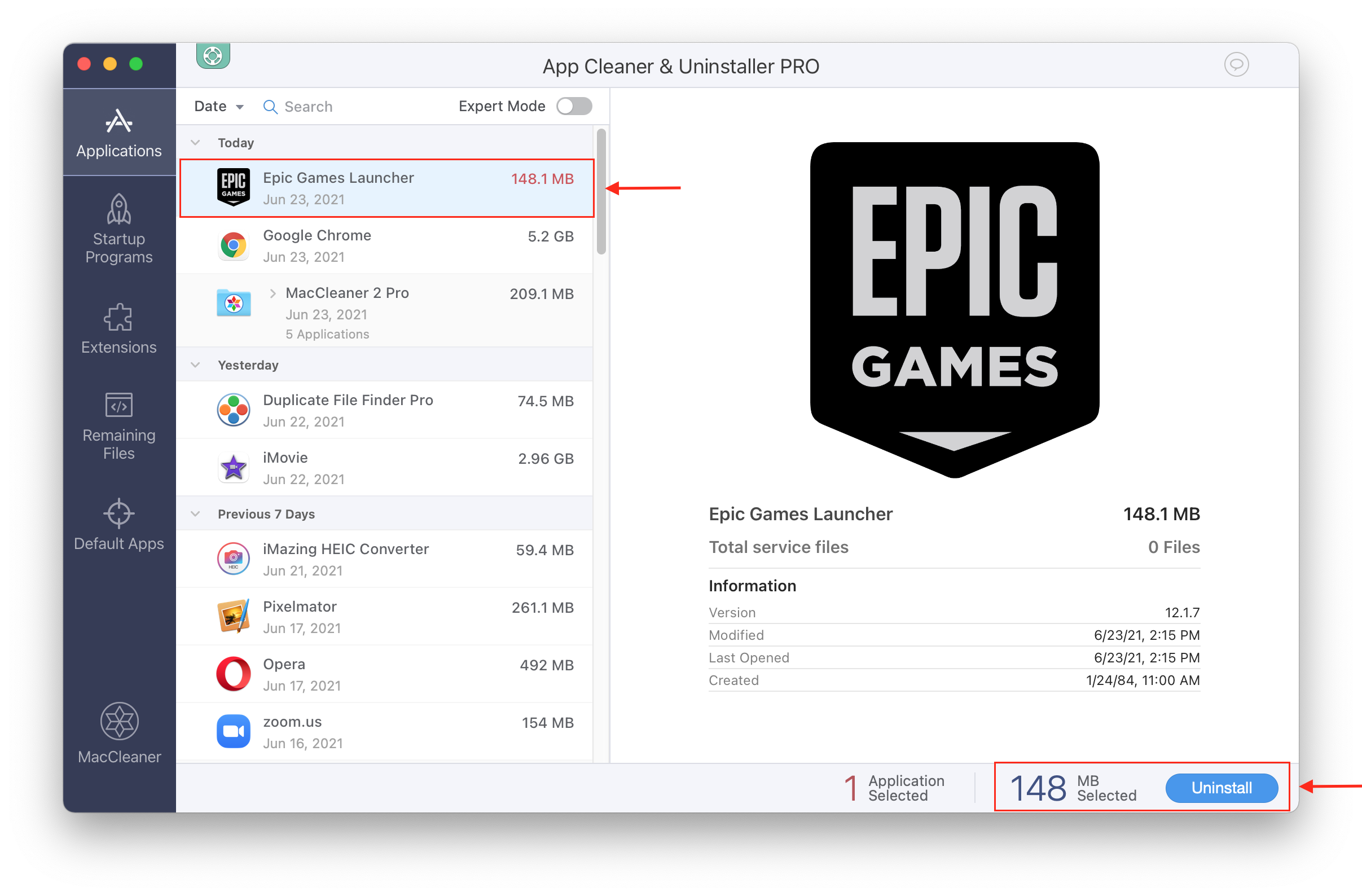 App Cleaner & Uninstaller window showing how to remove Epic games