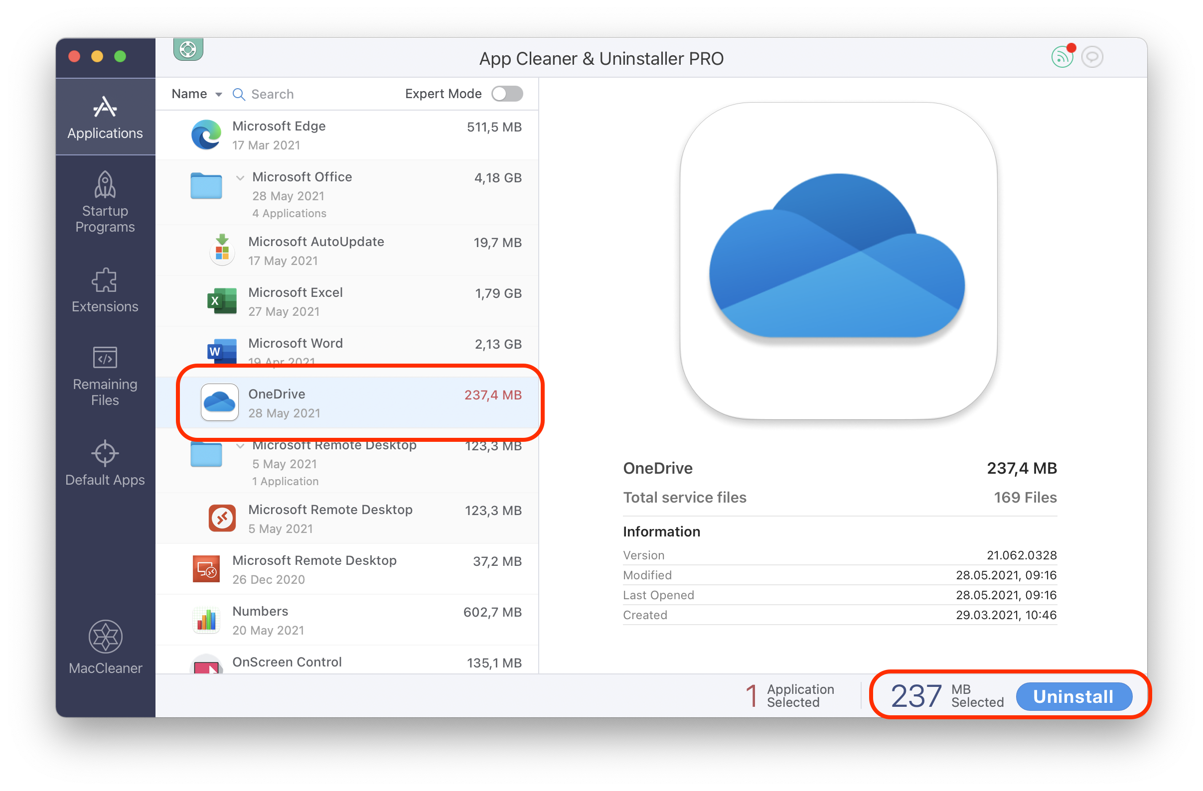 uninstalling OneDrive with App Cleaner