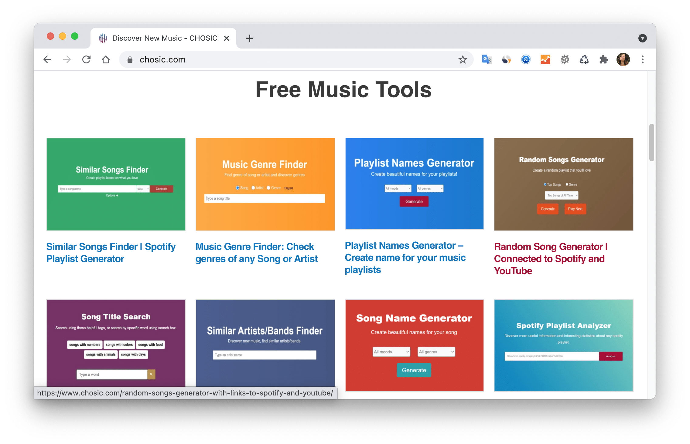 website page showing Chosic free music tools