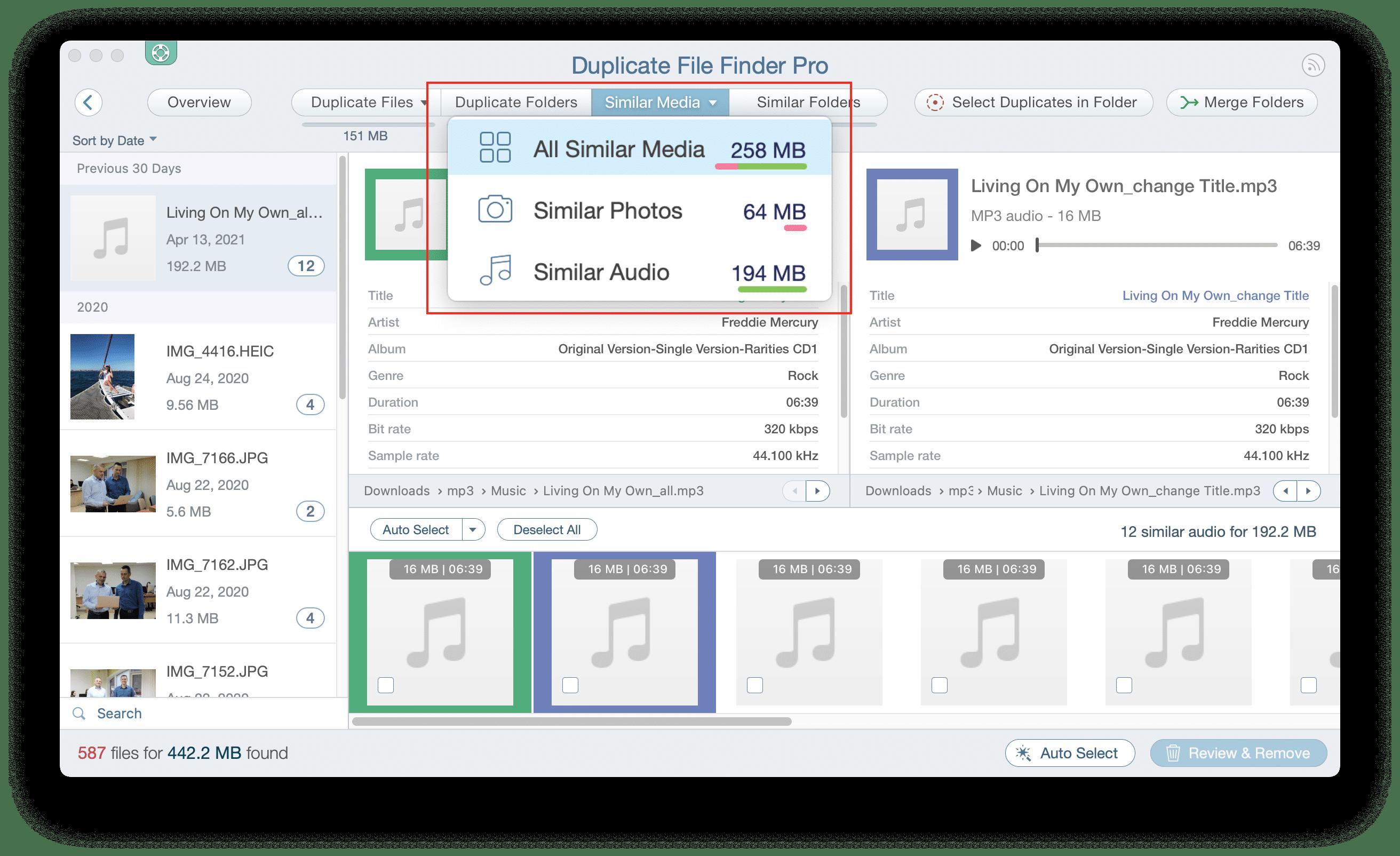 Duplicate File Finder showing Similar media files