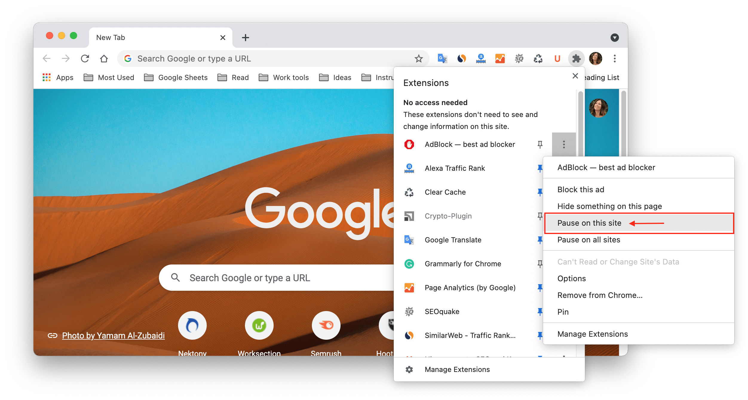 Chrome extensions menu showing how to pause AdBlock on site