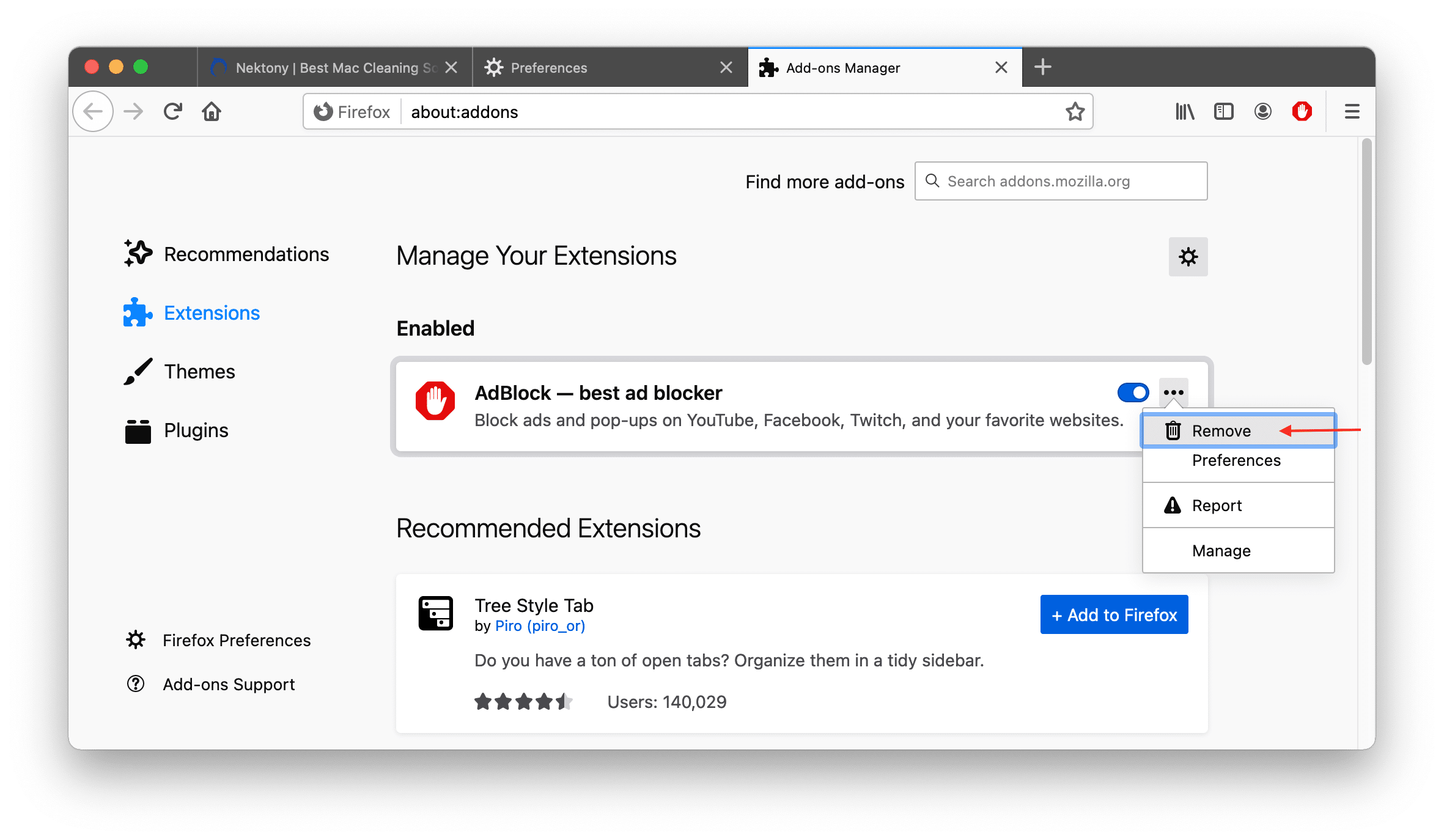Firefox extensions window showing how to remove AdBlock