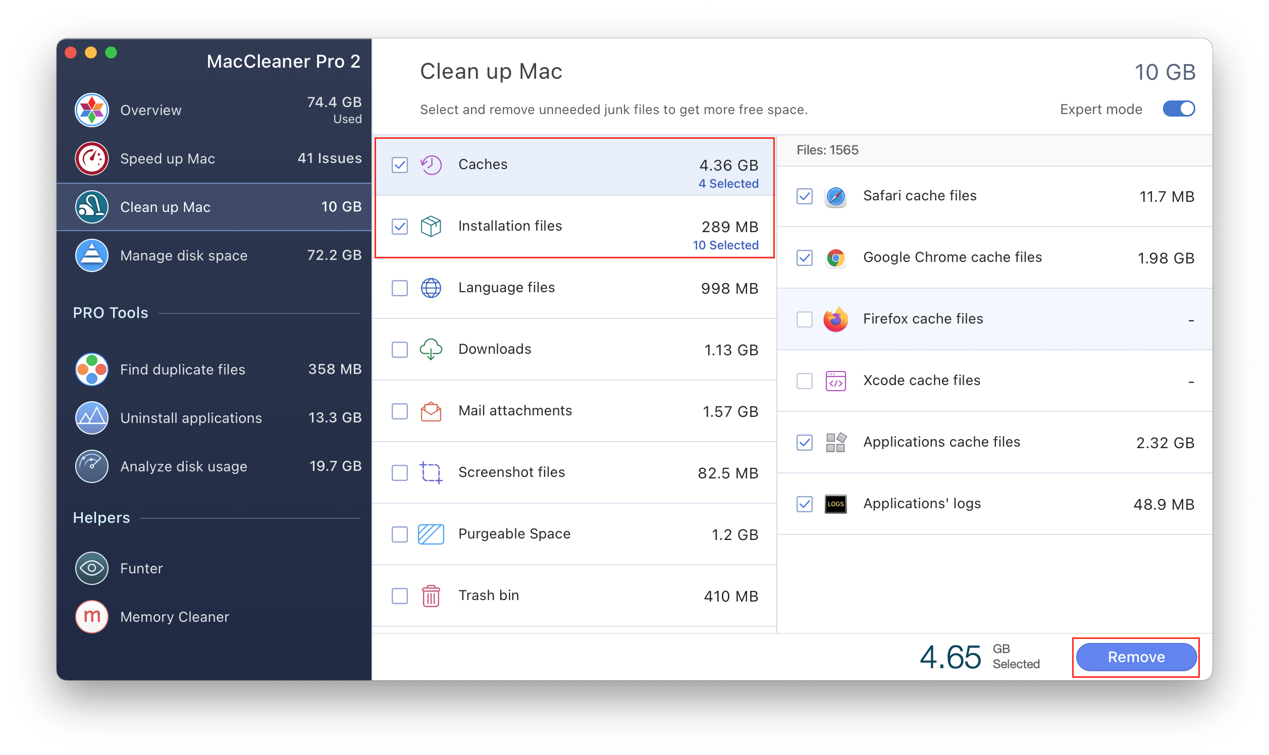 MacCleaner Pro with caches and installation files highlighted
