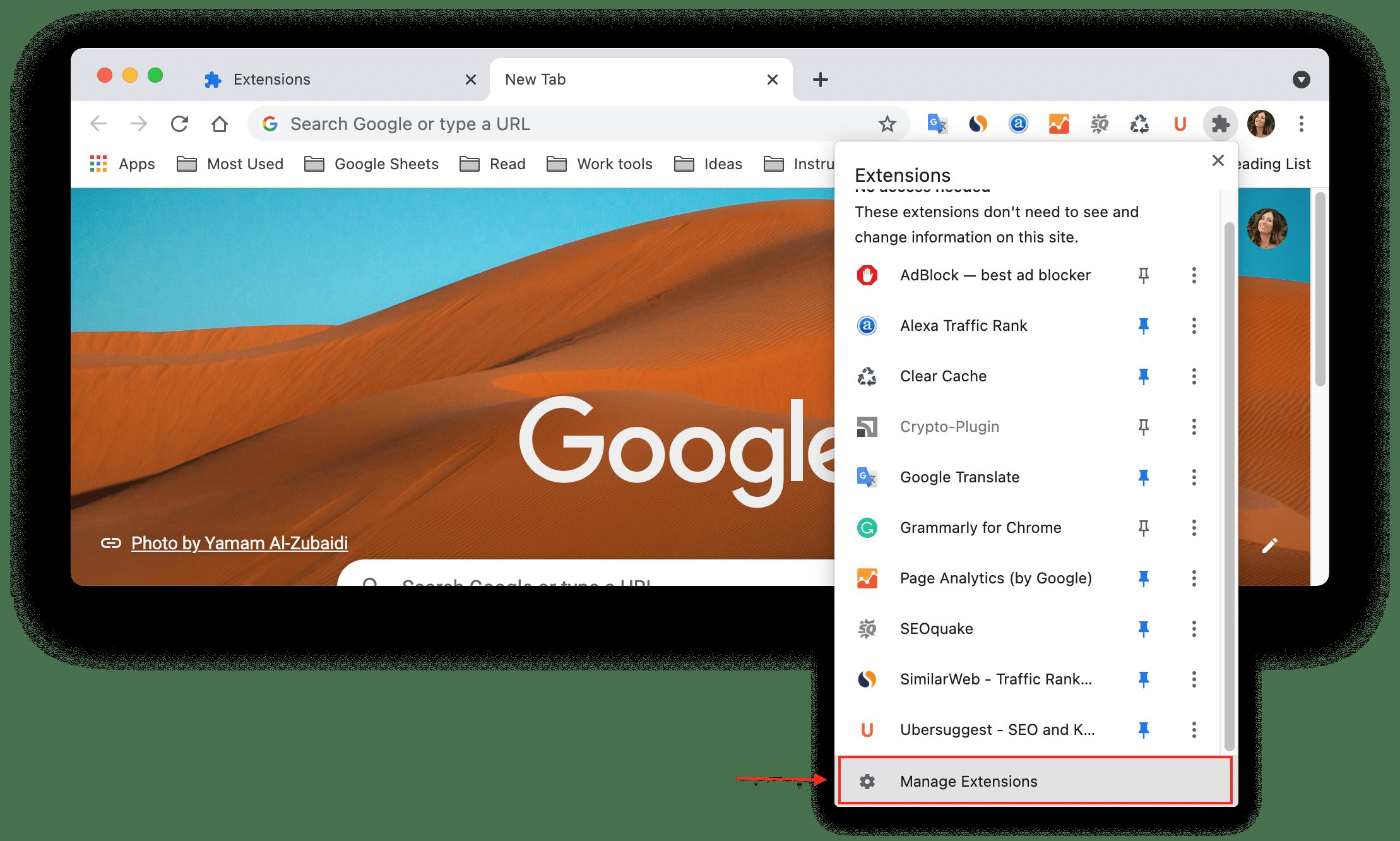 Chrome Extensions menu