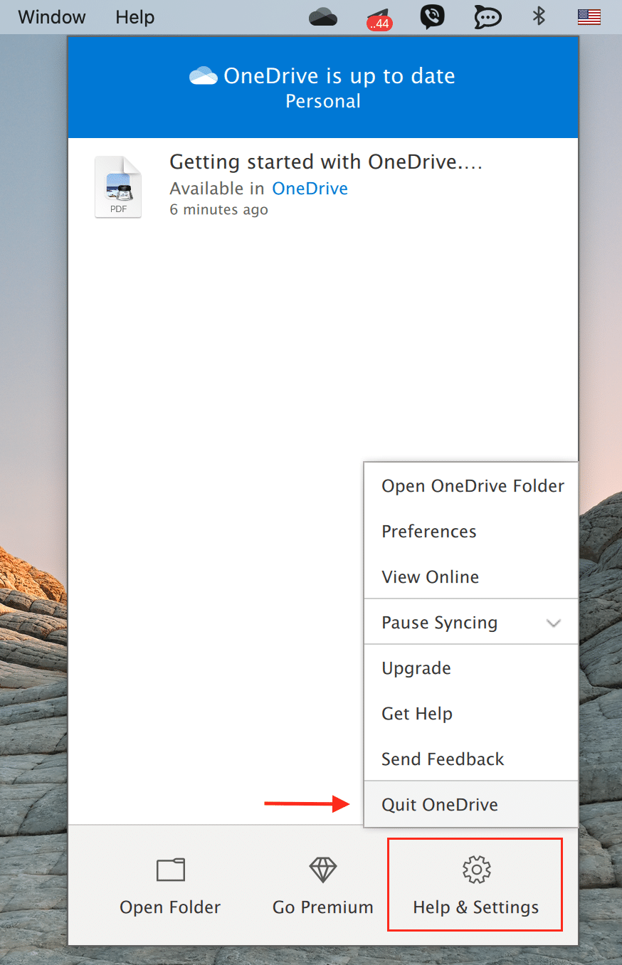 OneDrive drop menu showing where to quit the app