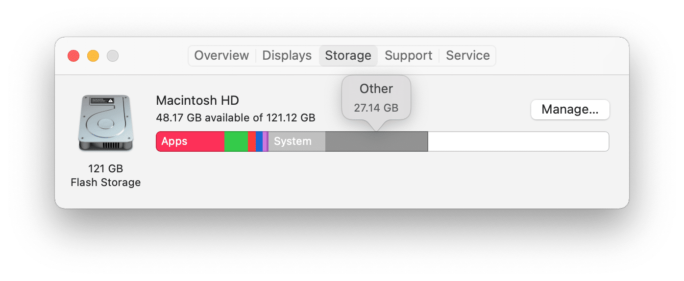 Mac storage usage panel showing Other category