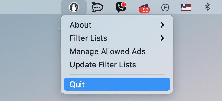 AdBlock in menu bar