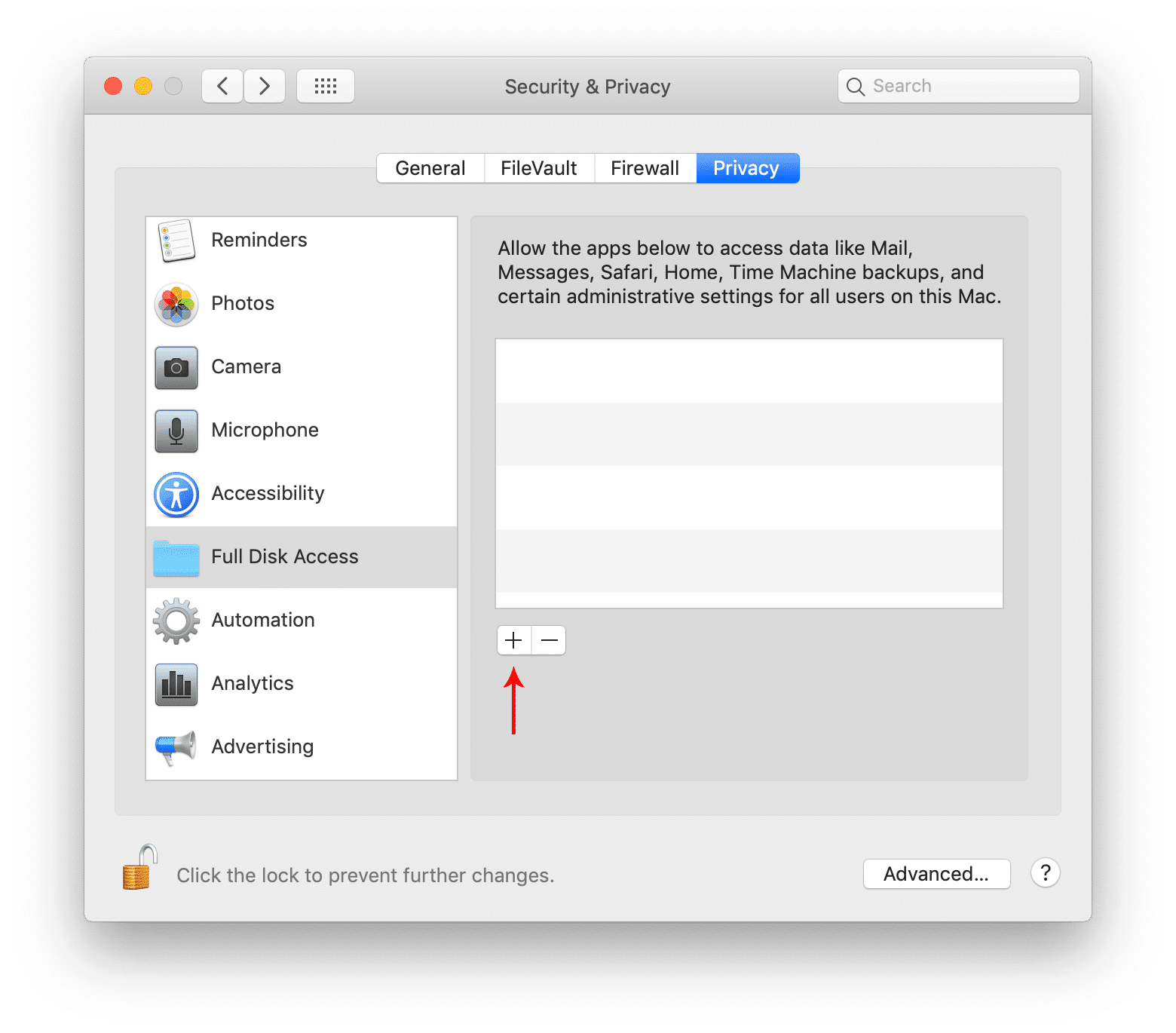 Full disk access on macOS Catalina