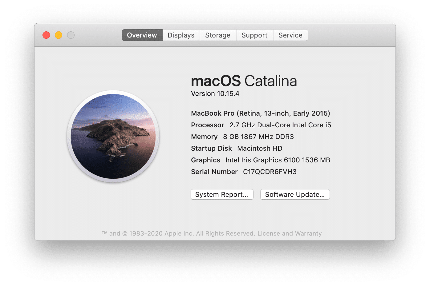 About This Mac window - Overview tab