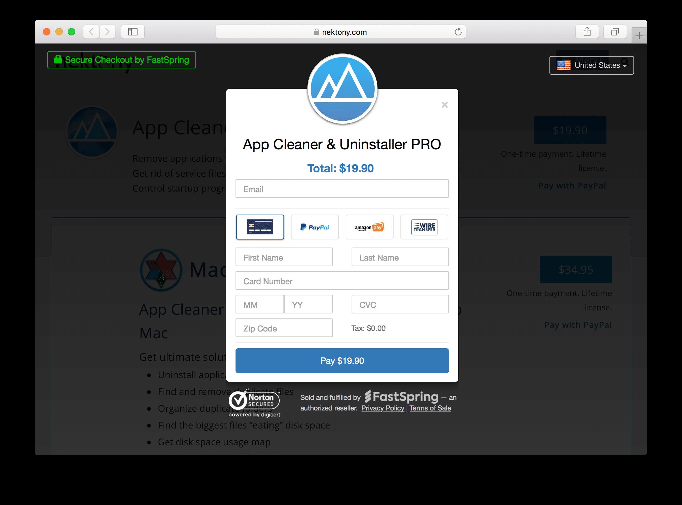 App Cleaner Uninstaller payment popup