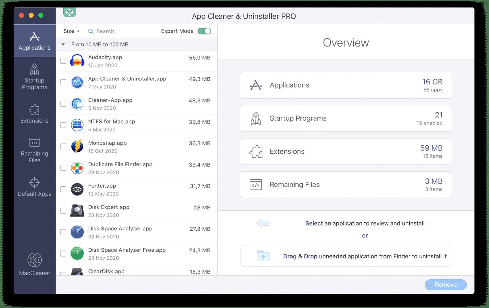 App Cleaner & Uninstaller application showing Overview window