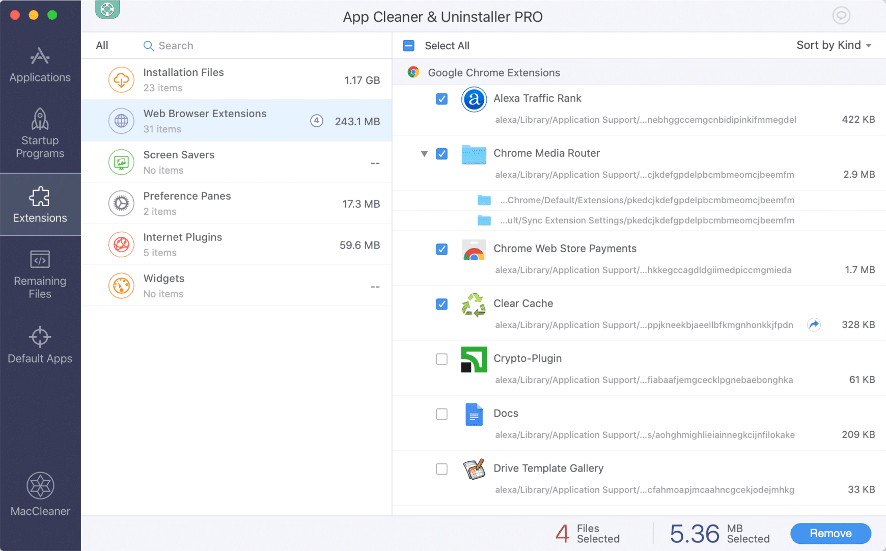 App Cleaner & Uninstaller window with ticked extensions