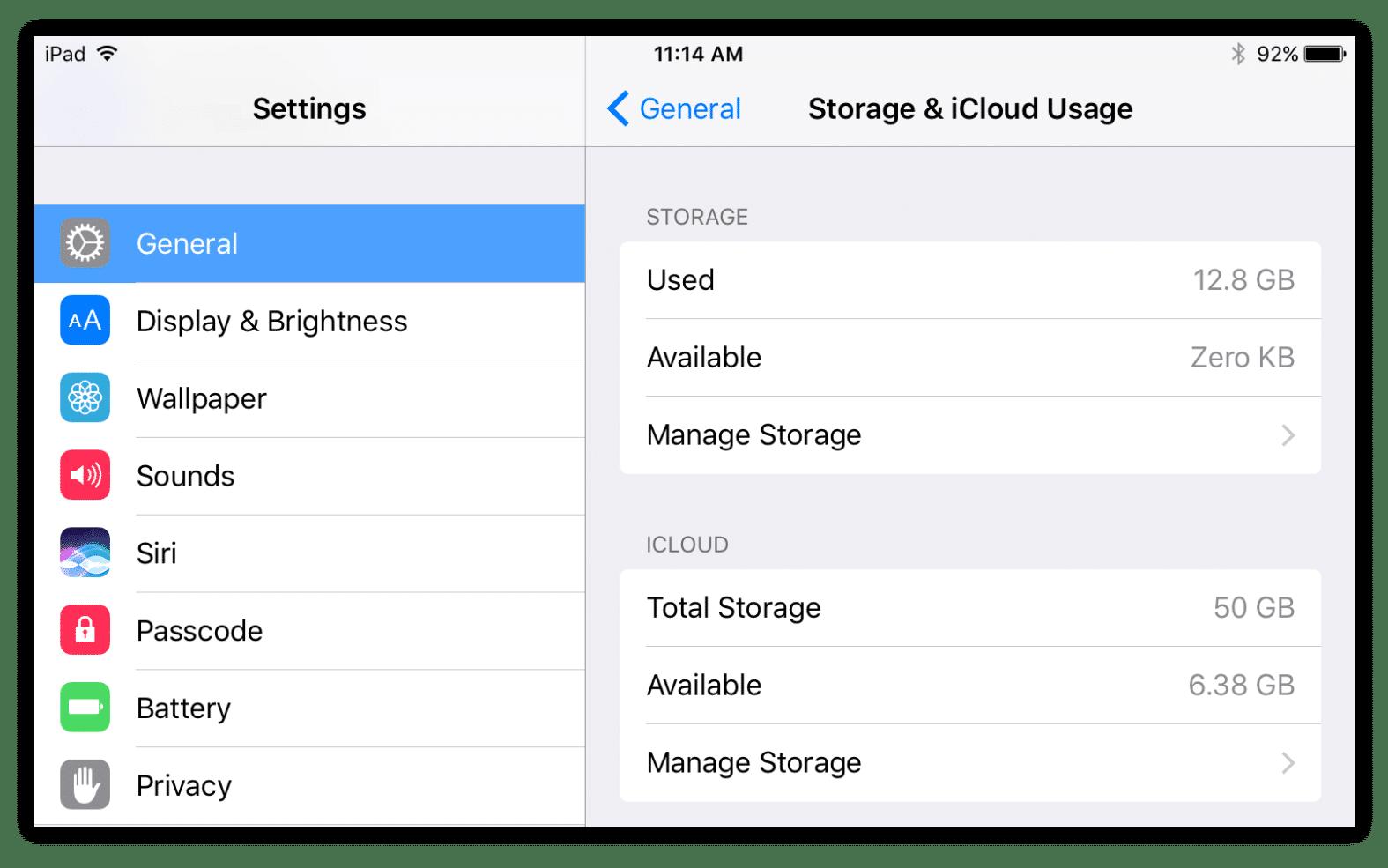 Storage and iCloud usage settings