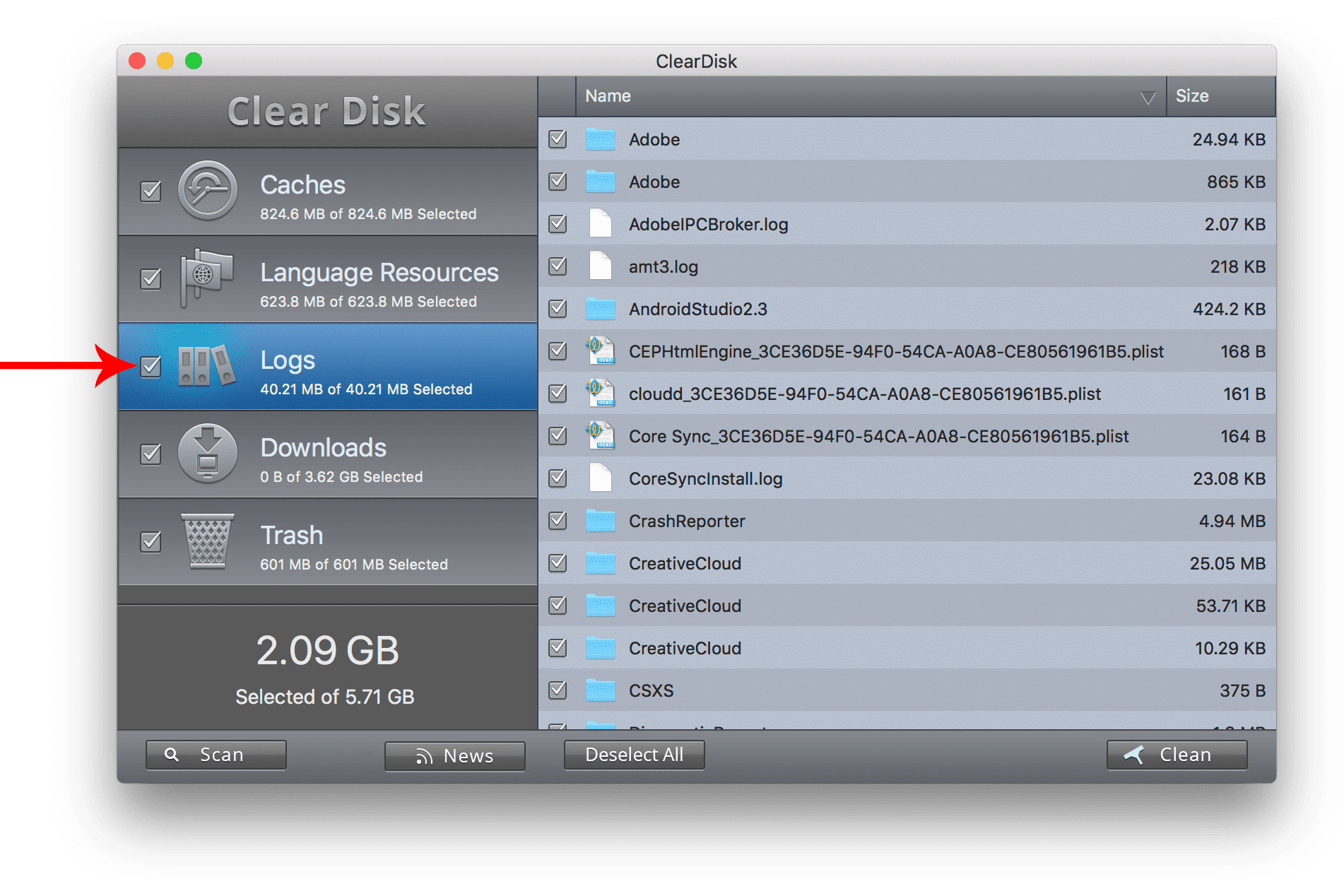 clear disk logs