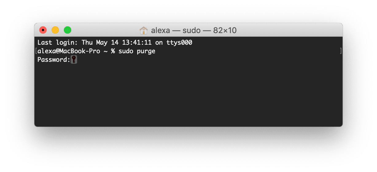 purge command in Terminal application window