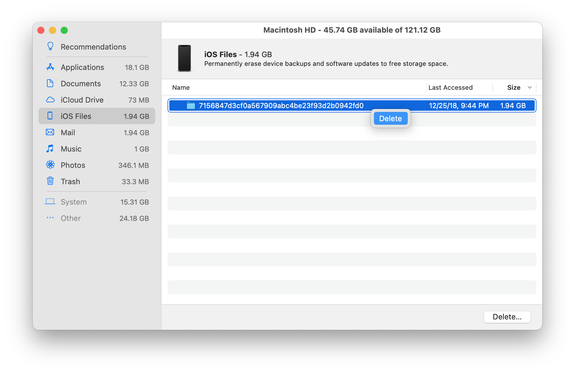 delete iphone backups to clean up Mac storage space