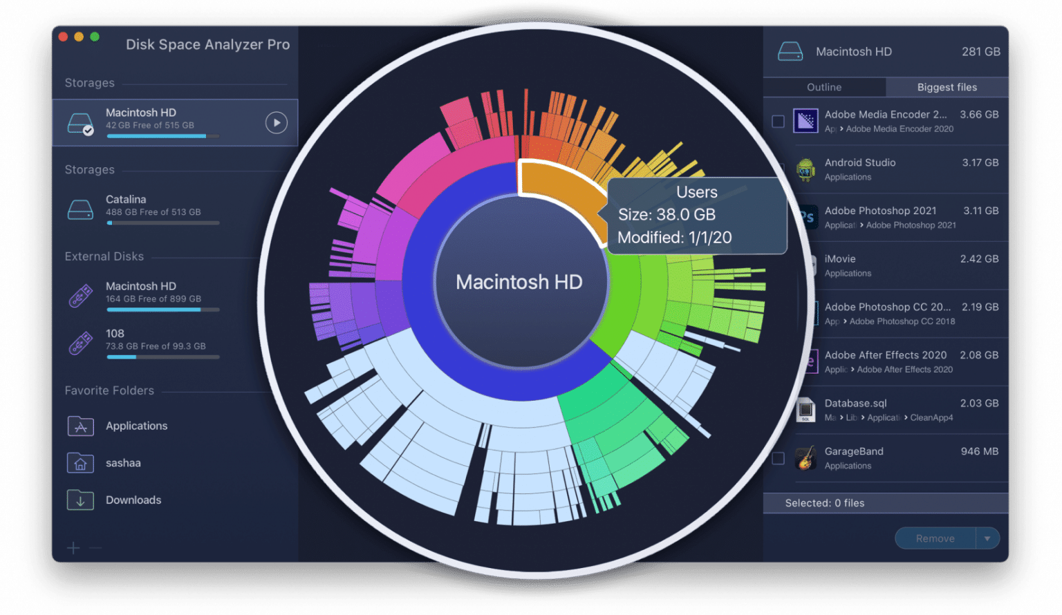 Disk Space Analyzer with highlighted disk space usage diagram