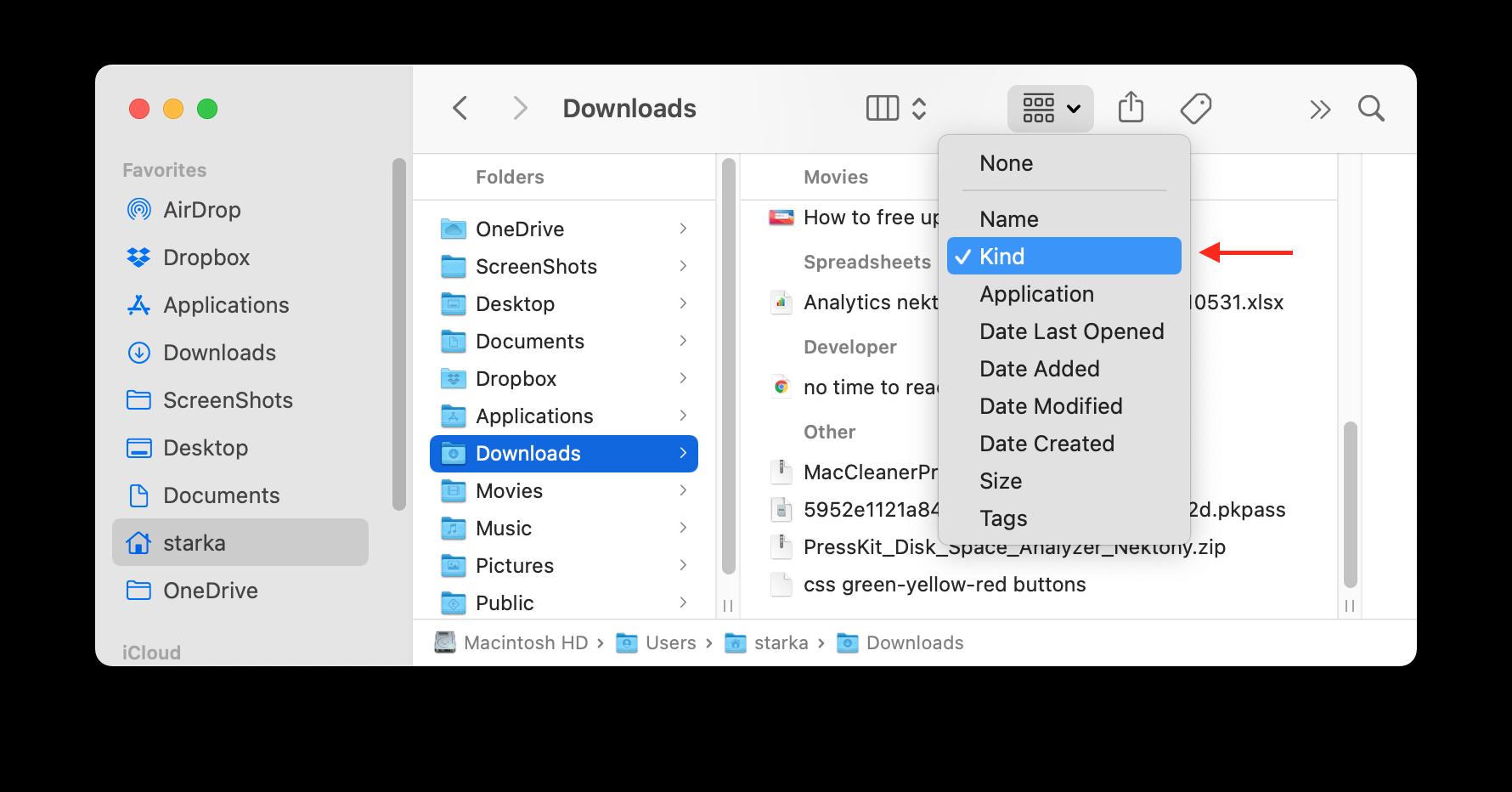 Sorting files in Downloads folder by kind