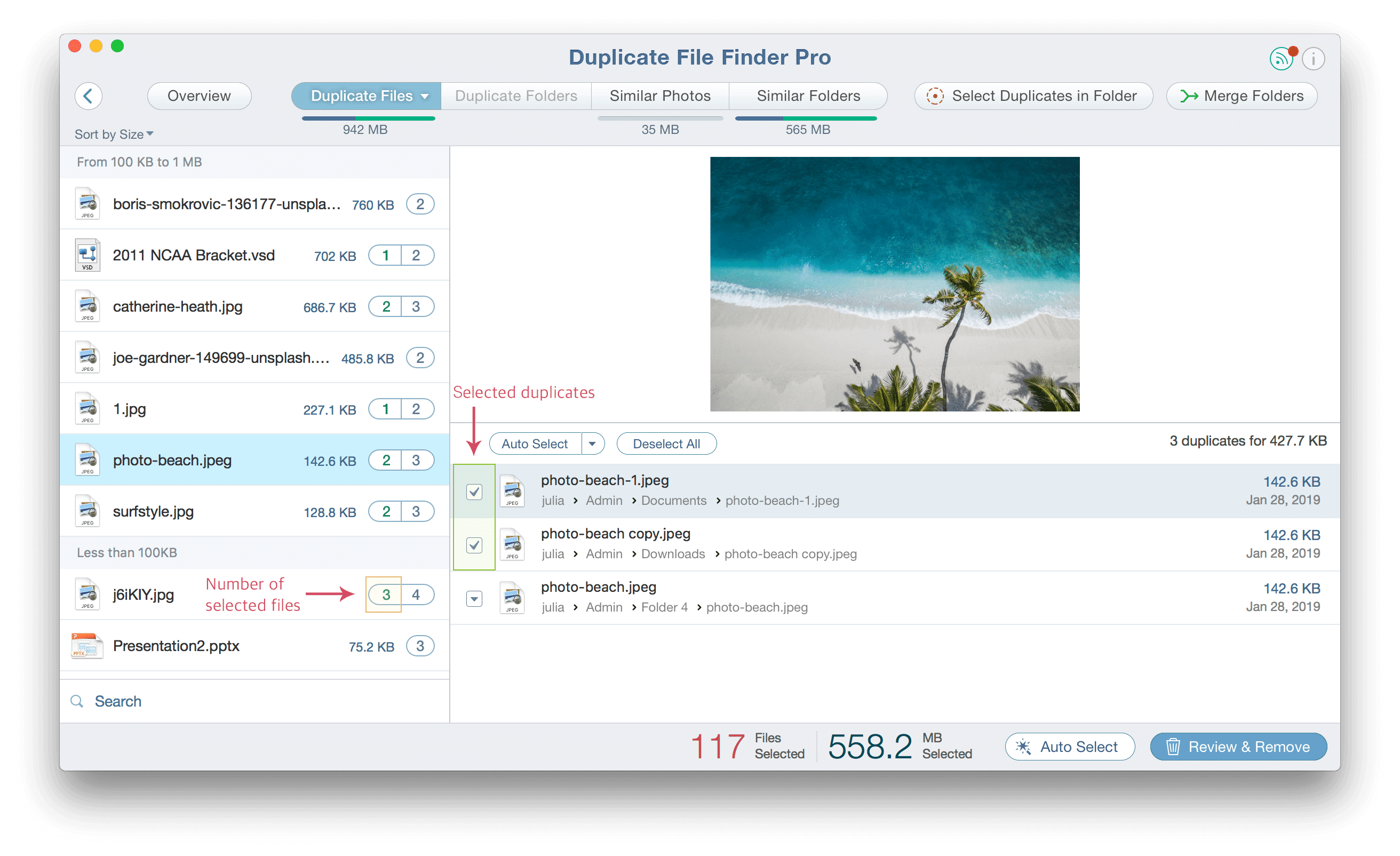 Duplicate File Finder with selected files highlighted