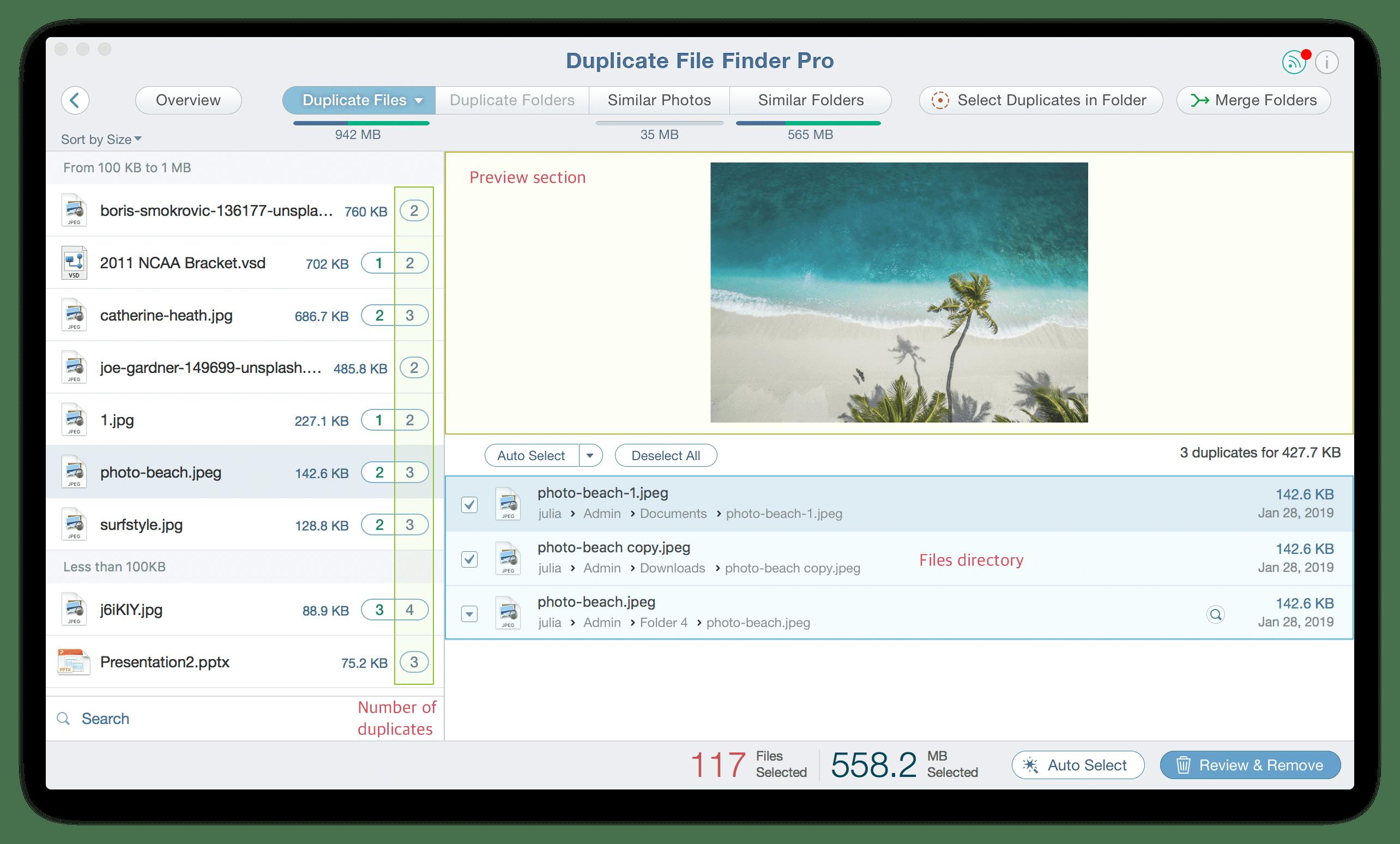 Duplicate File Finder showing amount of duplicates in Duplicate Files tab