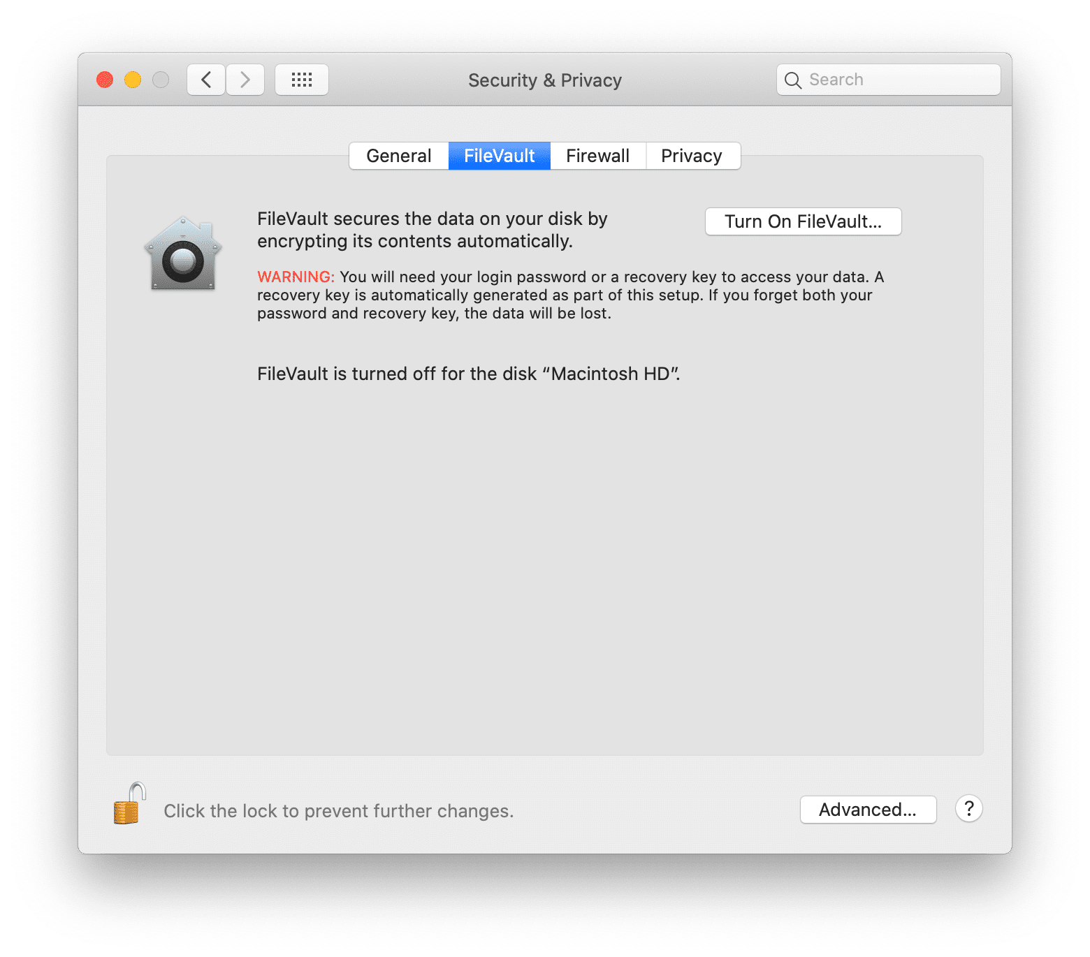 FileVault panel at Security & Privacy preferences window