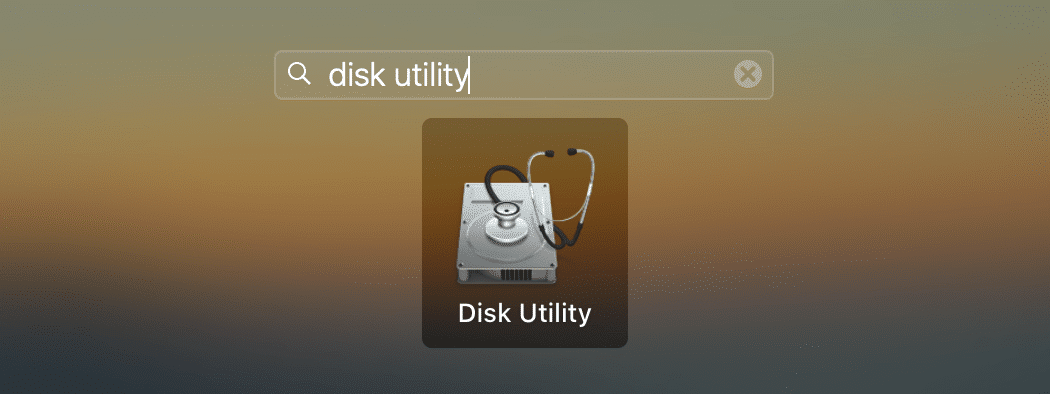 disk utility app in launchpad search