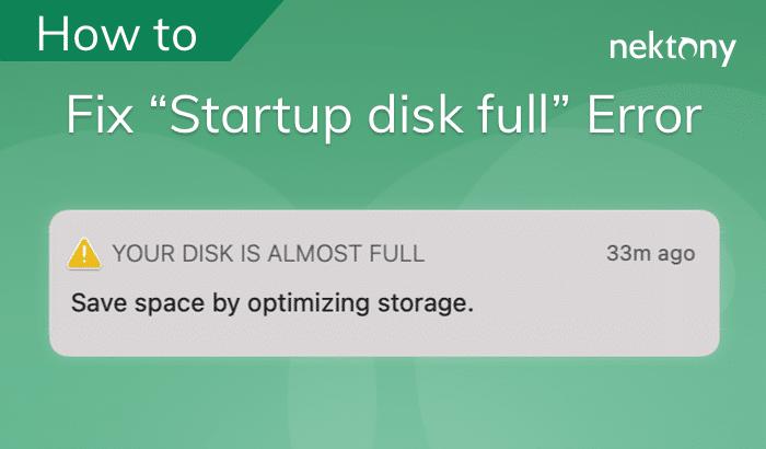 banner for post startup disk full fix error
