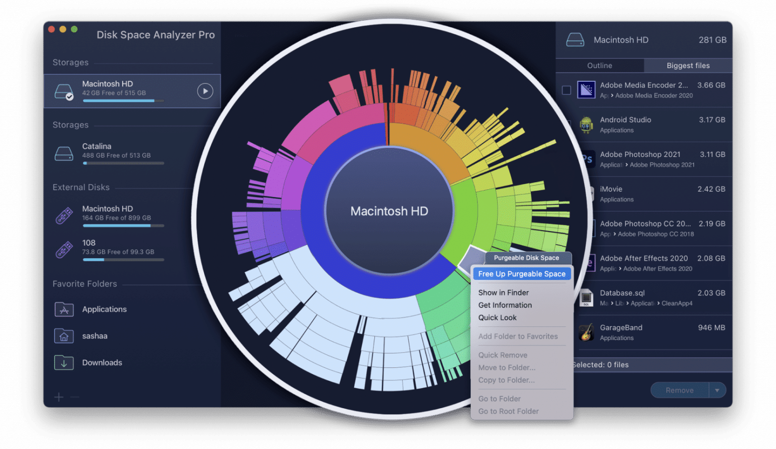 Free up purgeable space command in Disk Space Analyzer