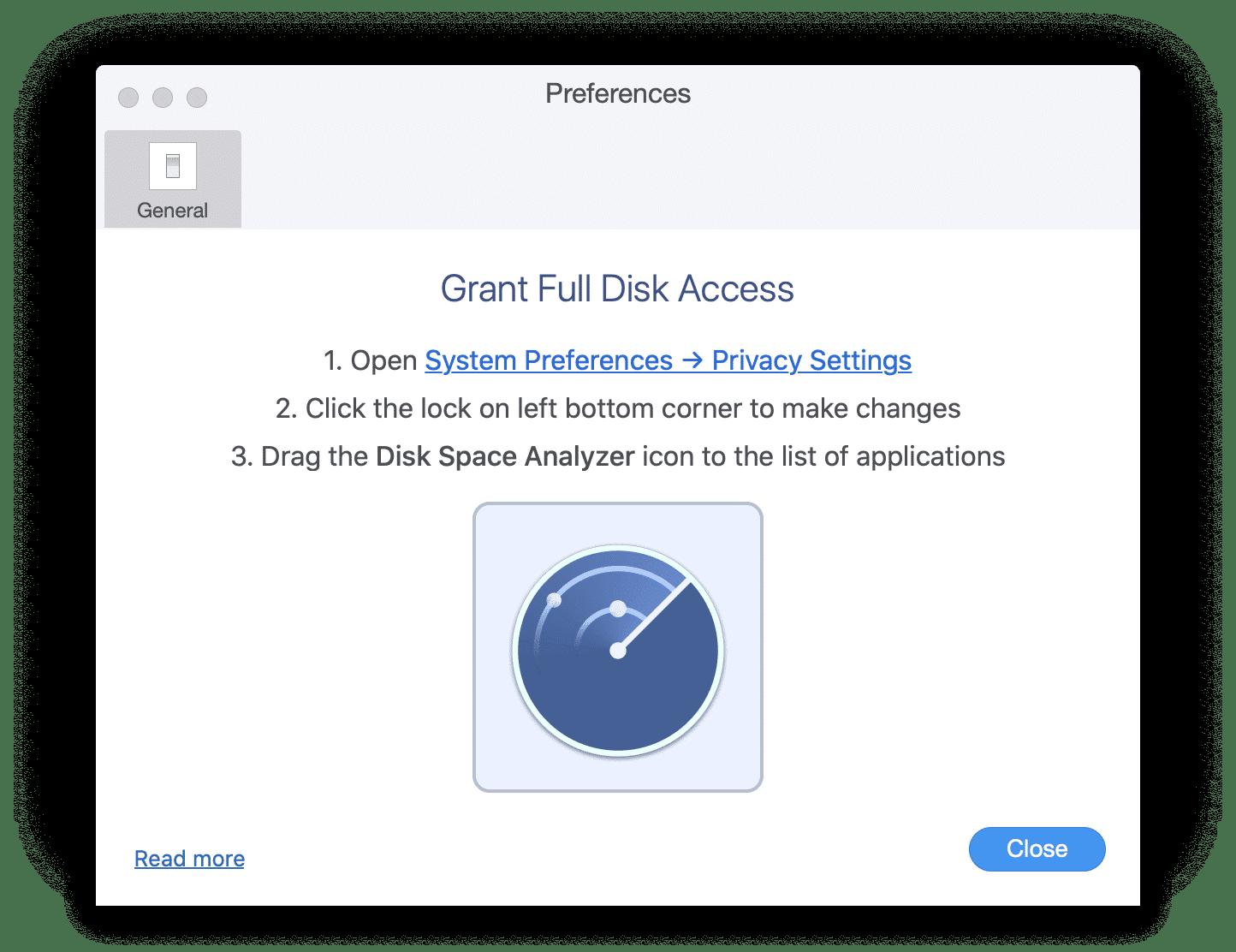 granting full disk access window