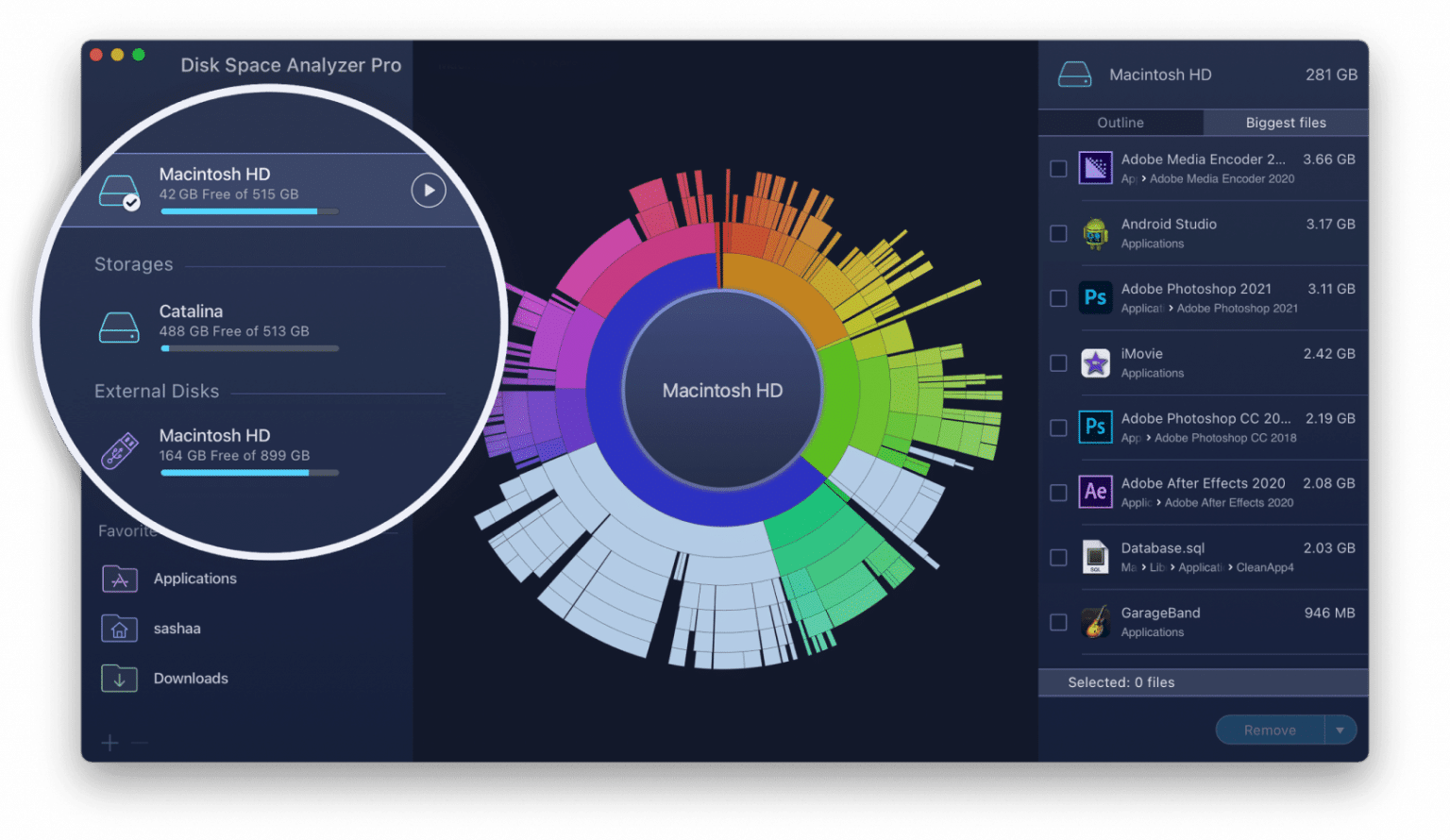 Disk Space Analyzer with hard drive section highlighted