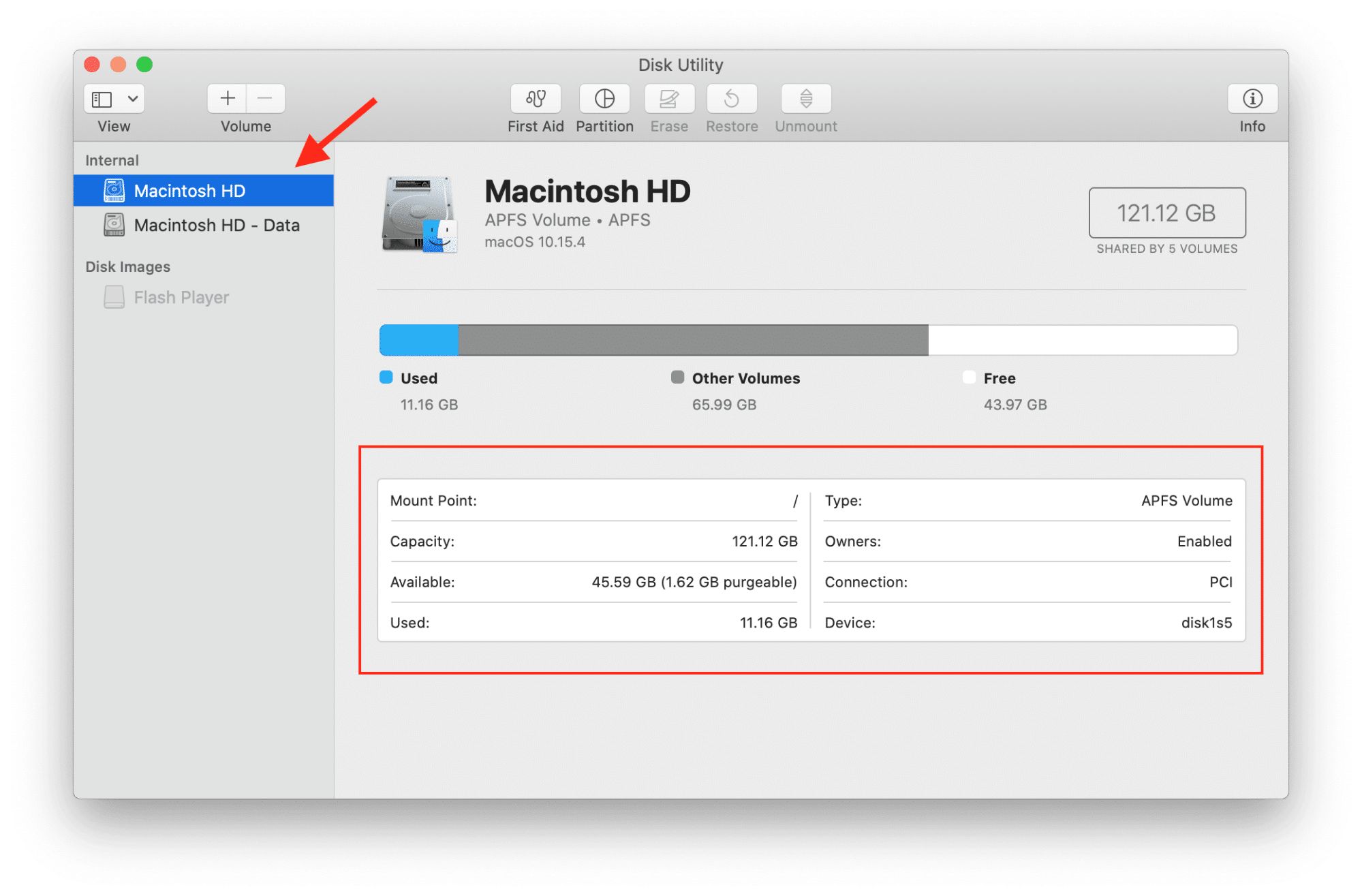 Macintosh HD section in Disk utility