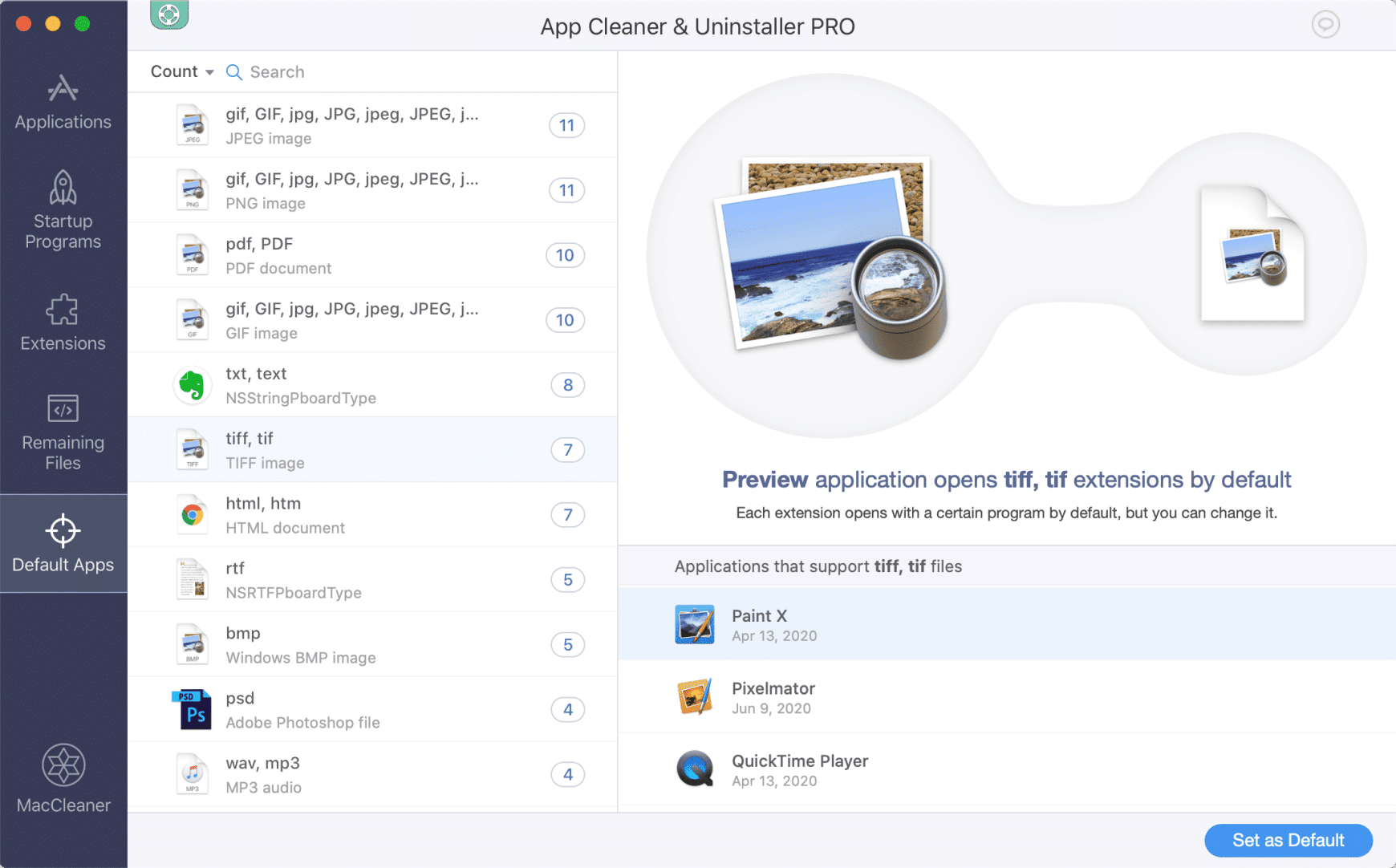 App Cleaner & Uninstaller window showing Default Apps section