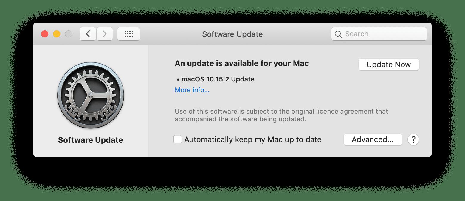 Mac Software Update window