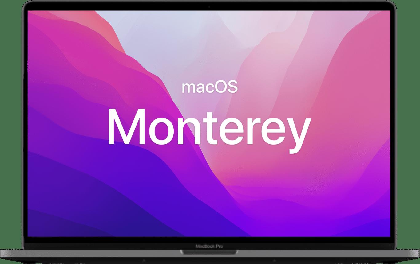 MacBook with the Monterey wallpaper