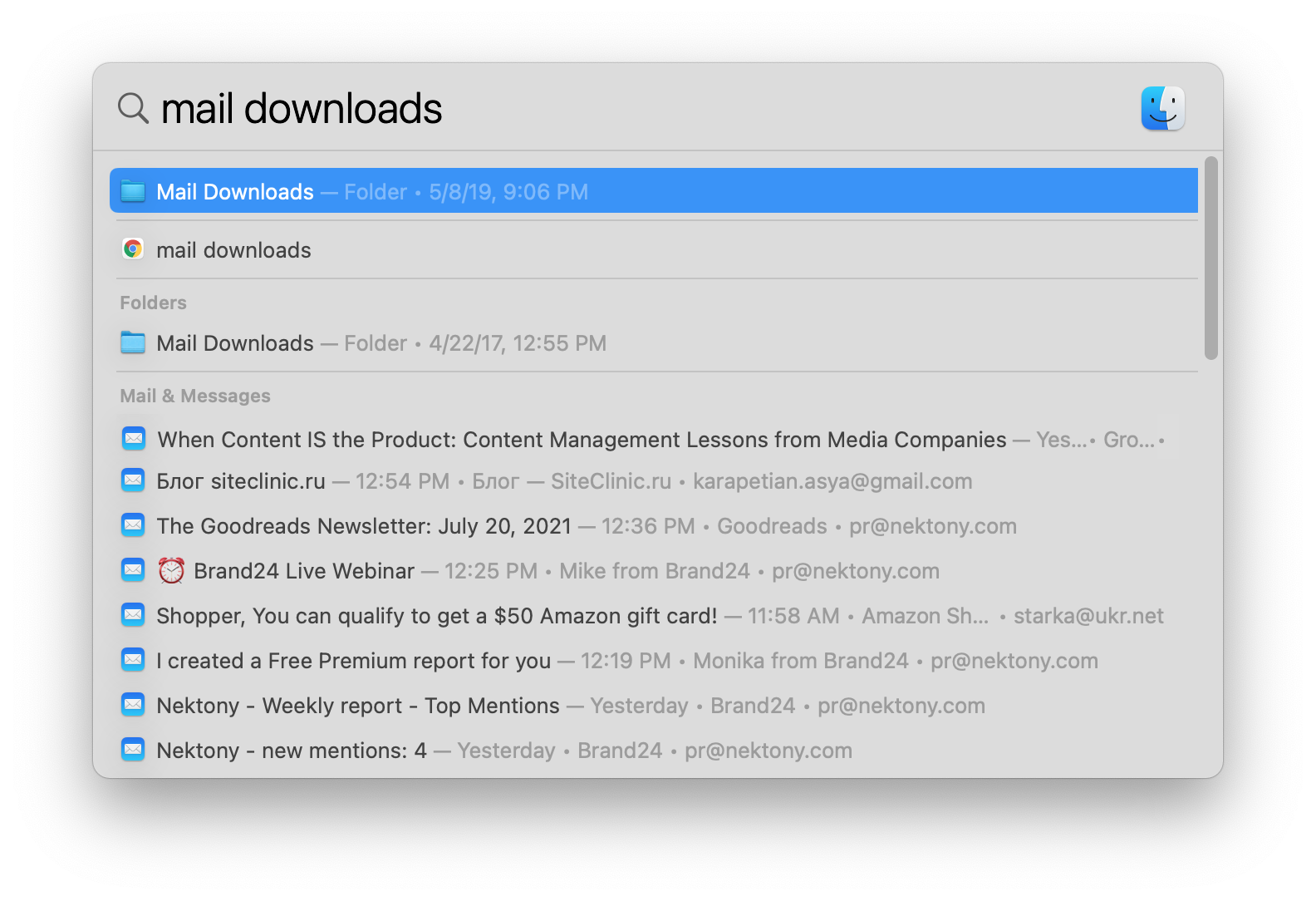 Searhing for mail downloads in Spotlight
