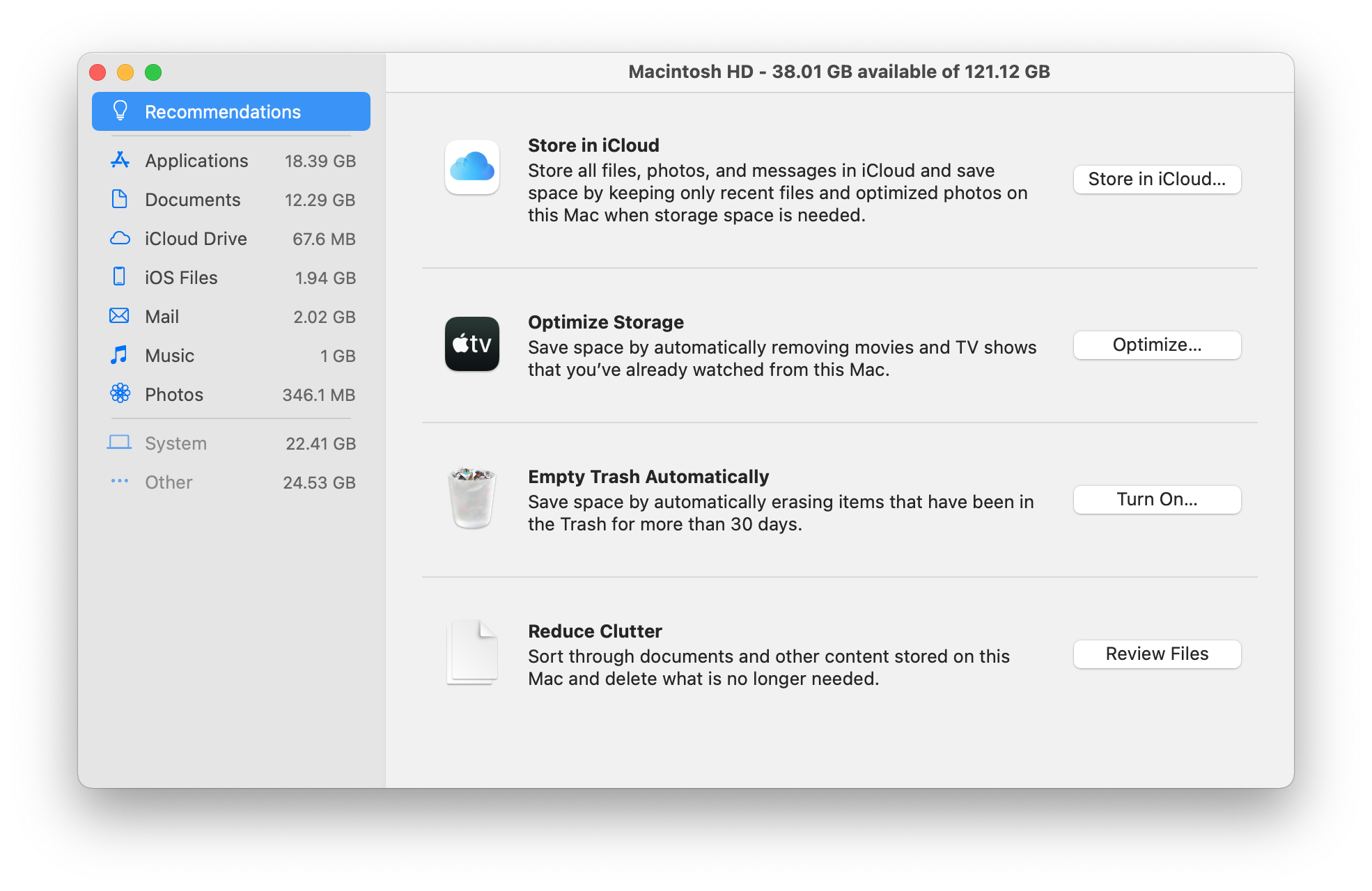 window showing therecommendations to manage disk space on Mac