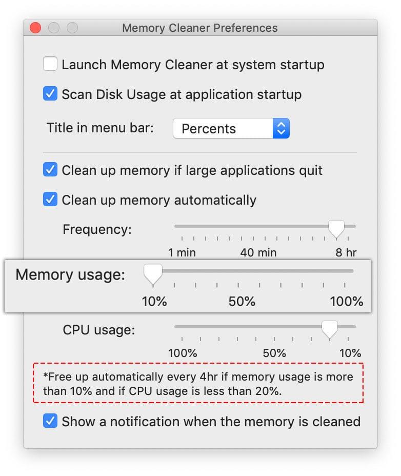 memory usage - set up