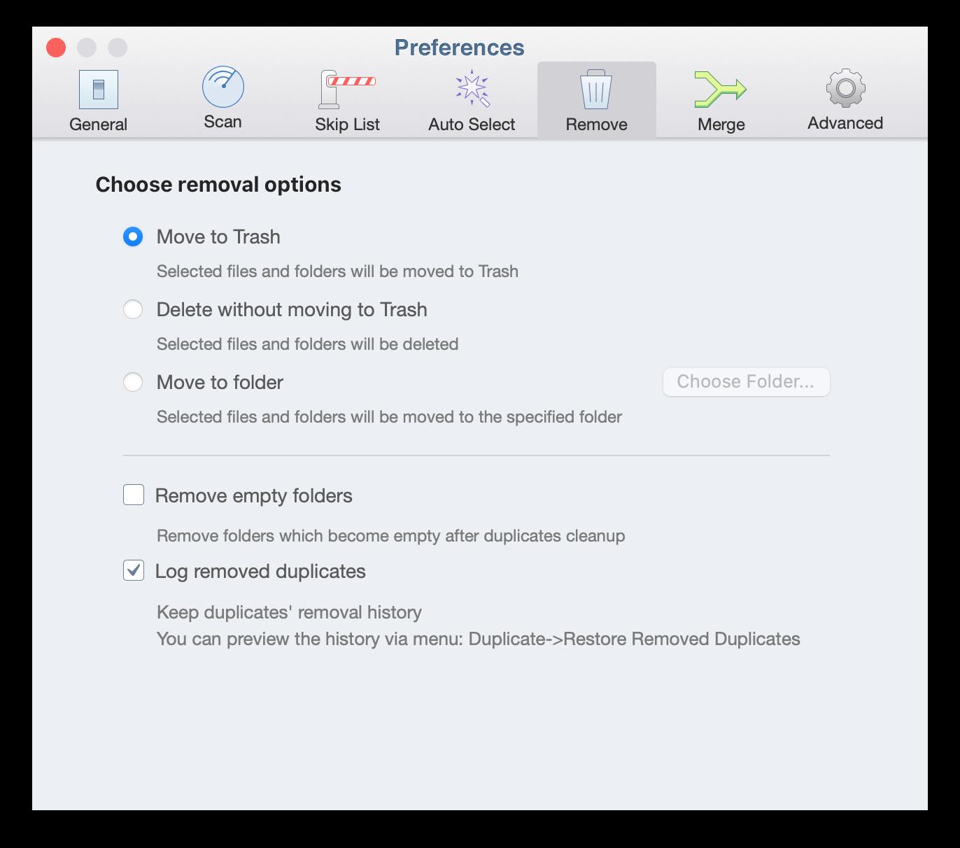 preferences remove duplicates