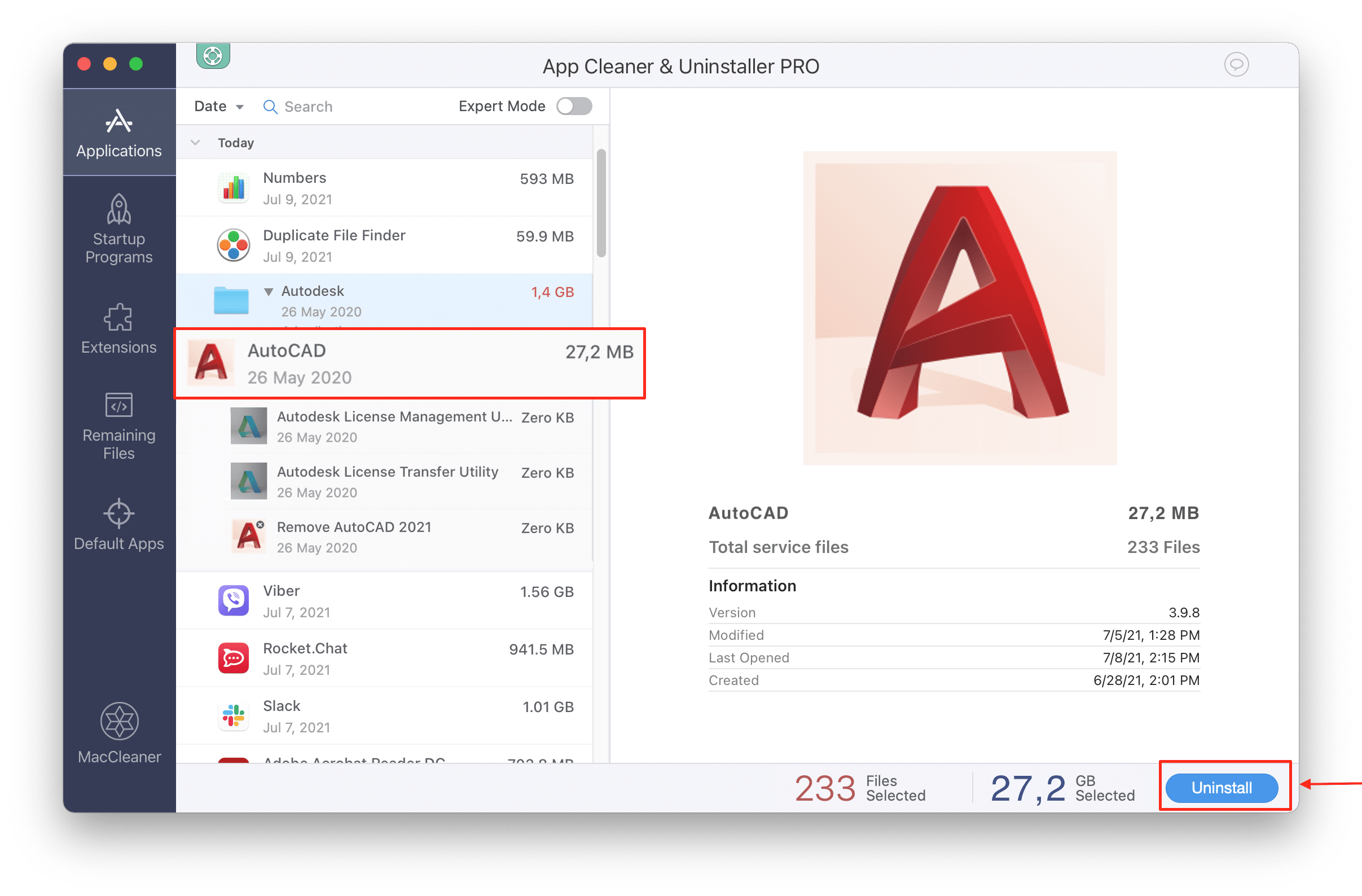 how to uninstall autocad mac