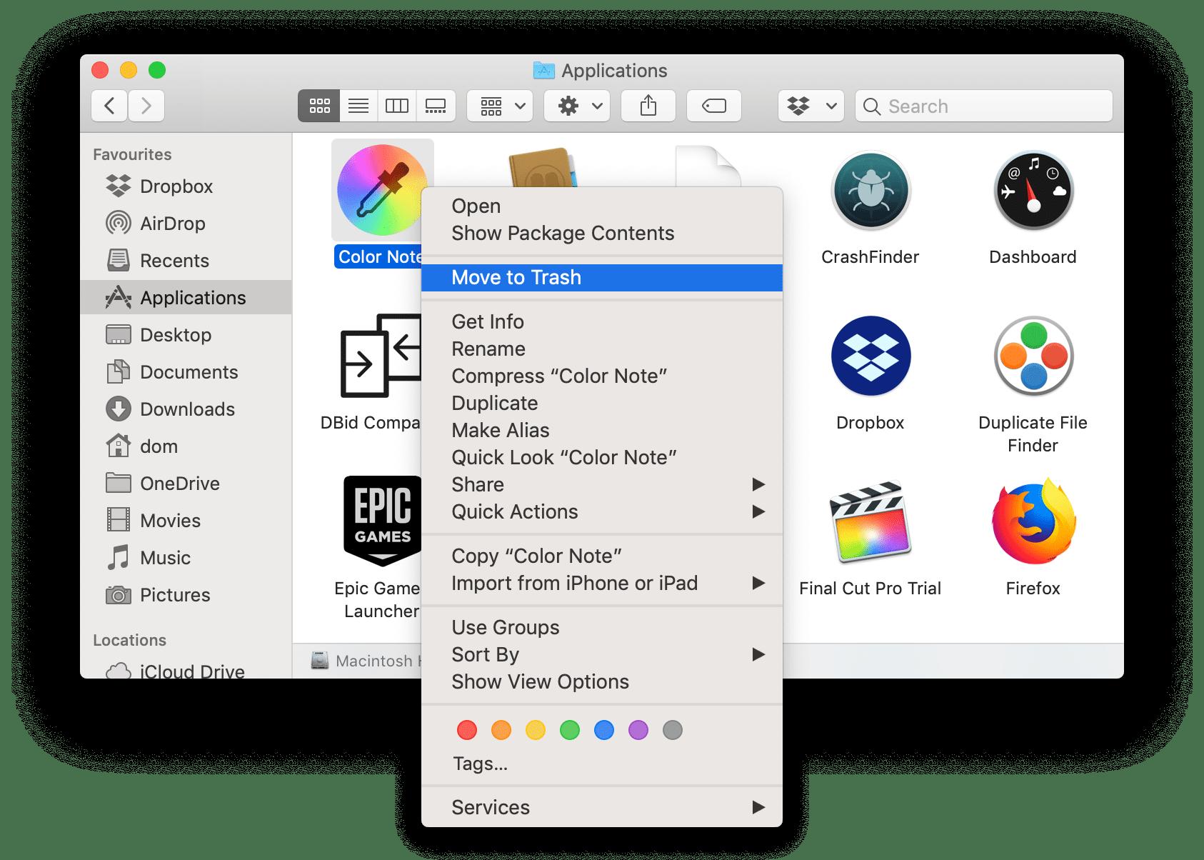 uninstall mac apps