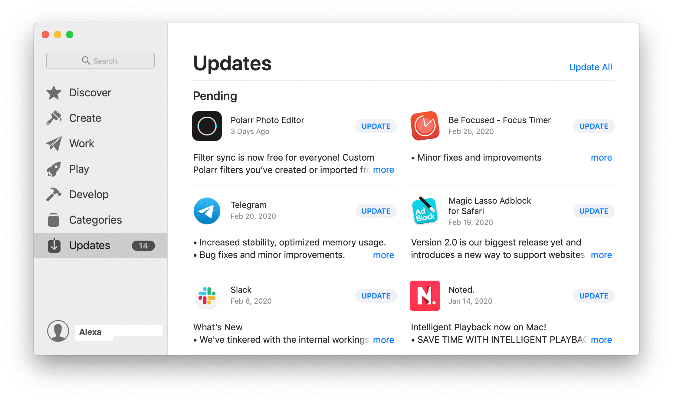 App Store window with Updates tab