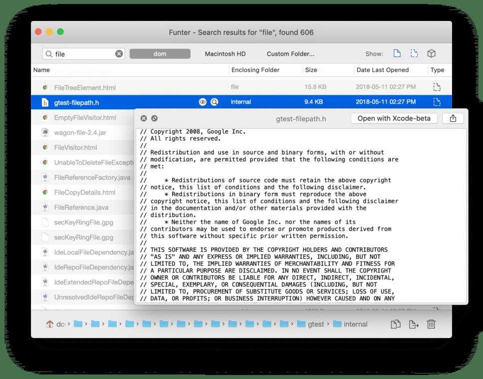 Funter application window
