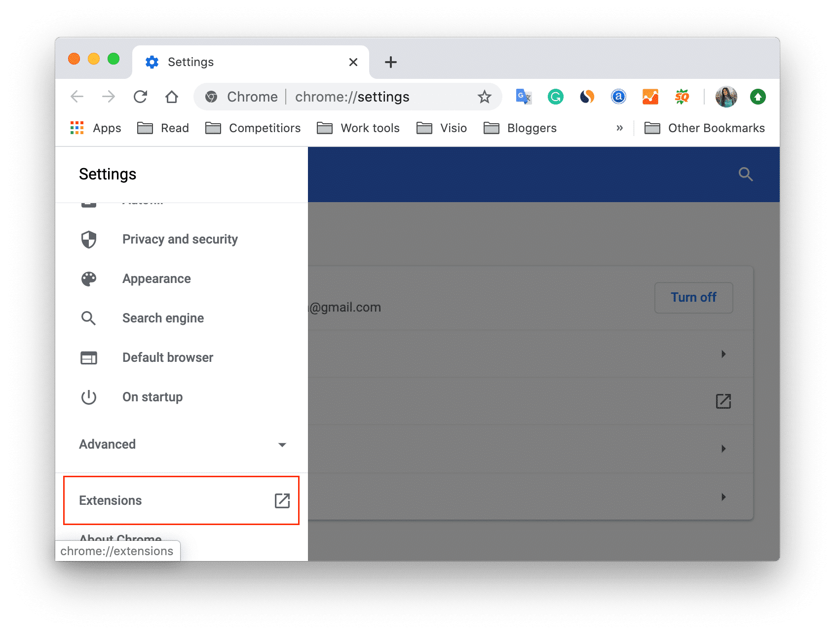 Chrome settings with extensions section highlighted
